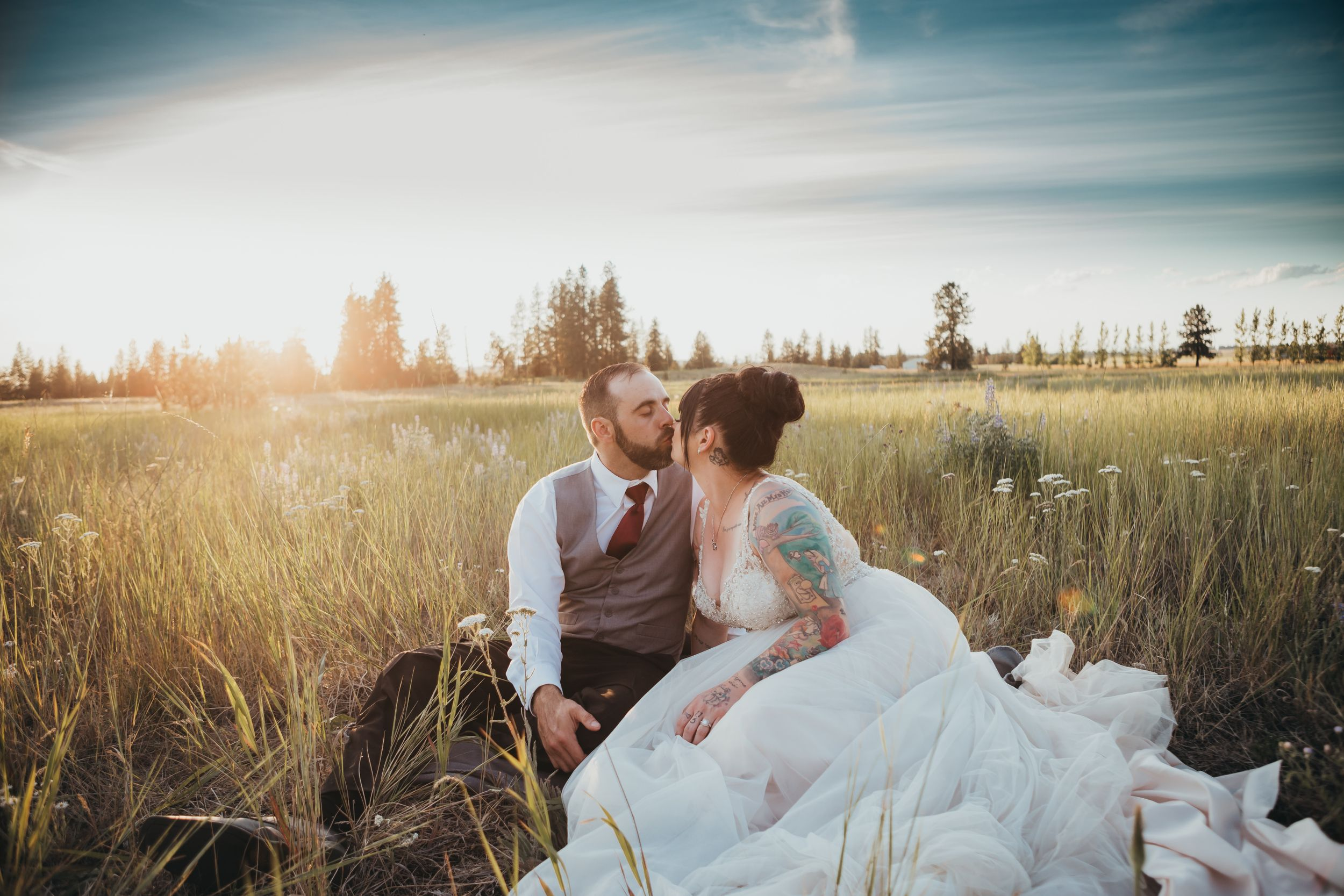 Sunset field wedding couple Medical lake wa Soulful Hues Photography Spokane WA