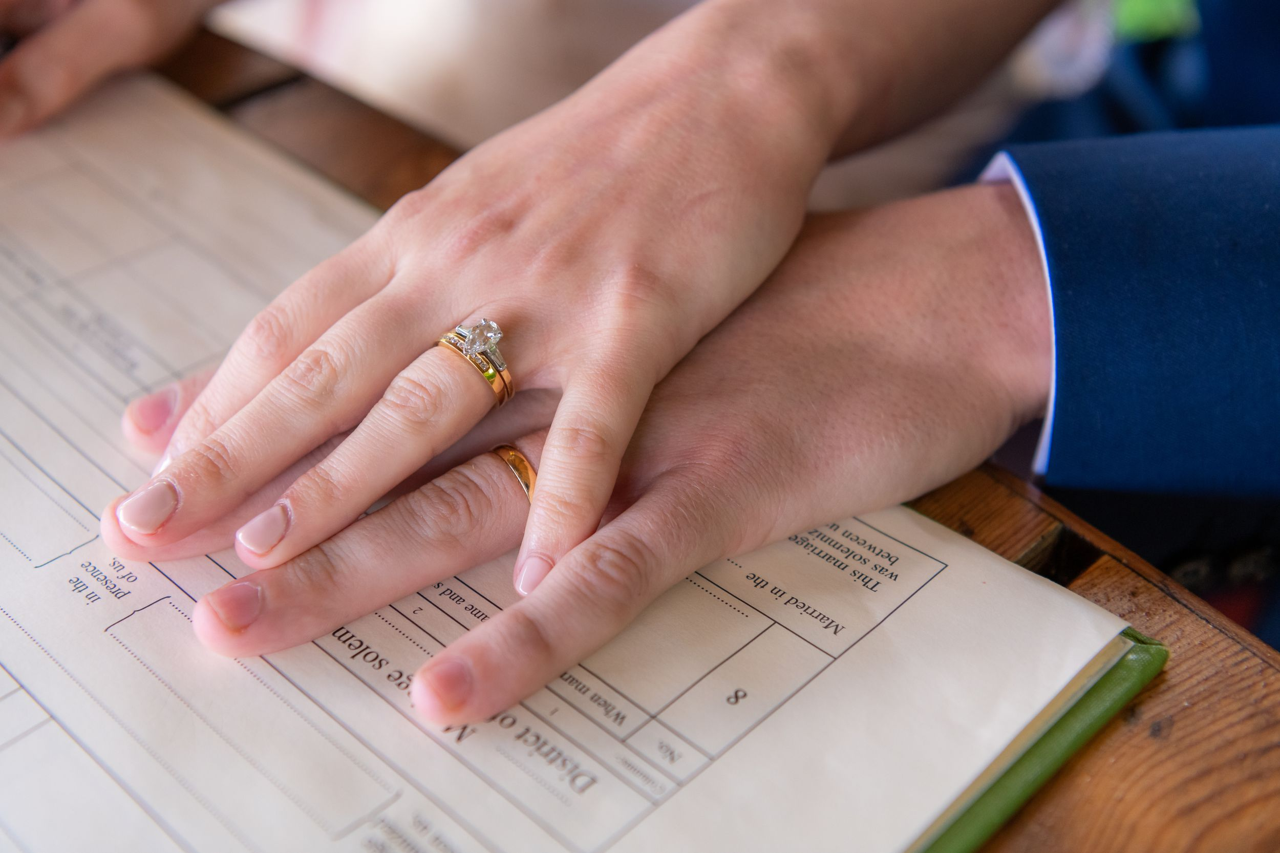wedding rings during signing of the register