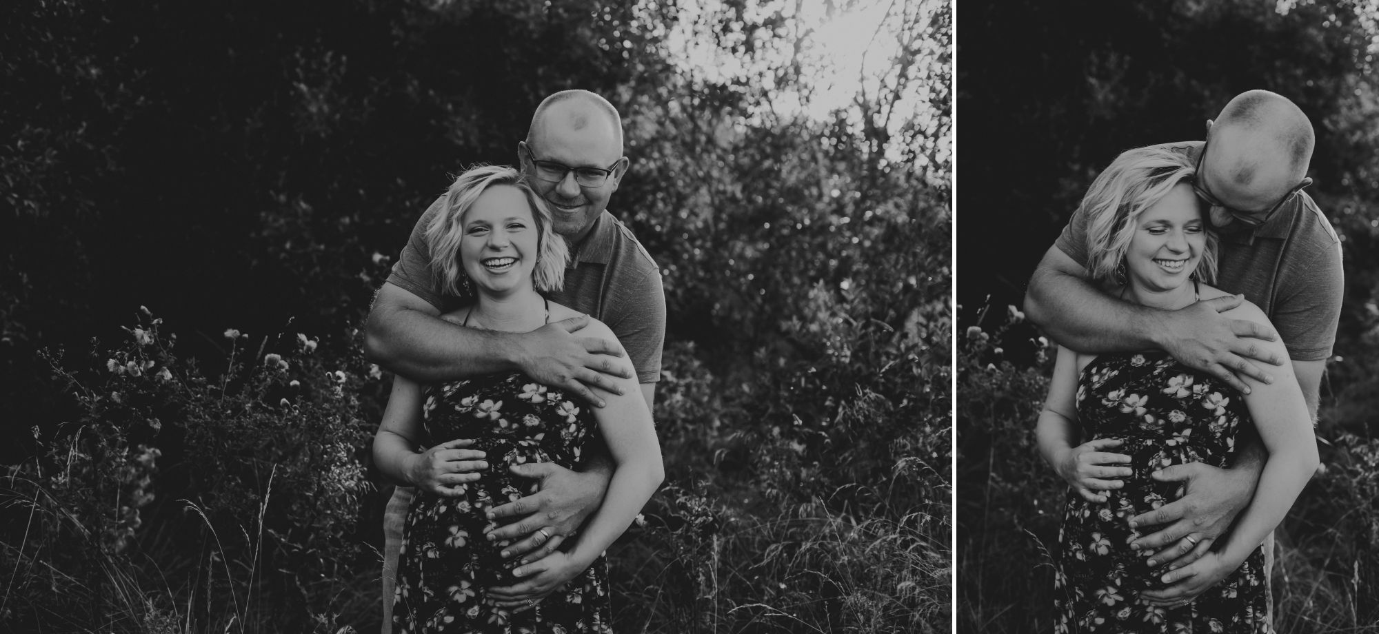 Black and white photos of a pregnant woman in a floral dress smiling while her husband hugs her from behind.