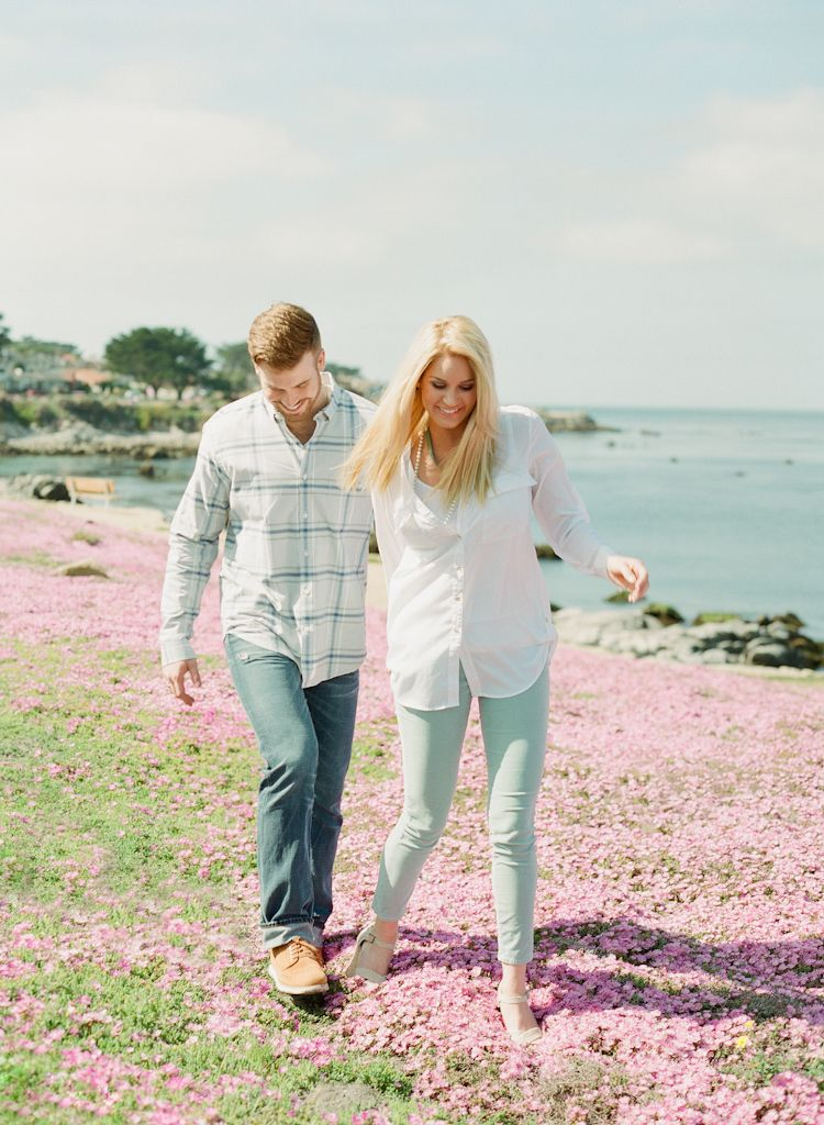 Carmel California wedding engagement photographer Aaron Snow Photography Lovers Point Monterey couple pink flowers