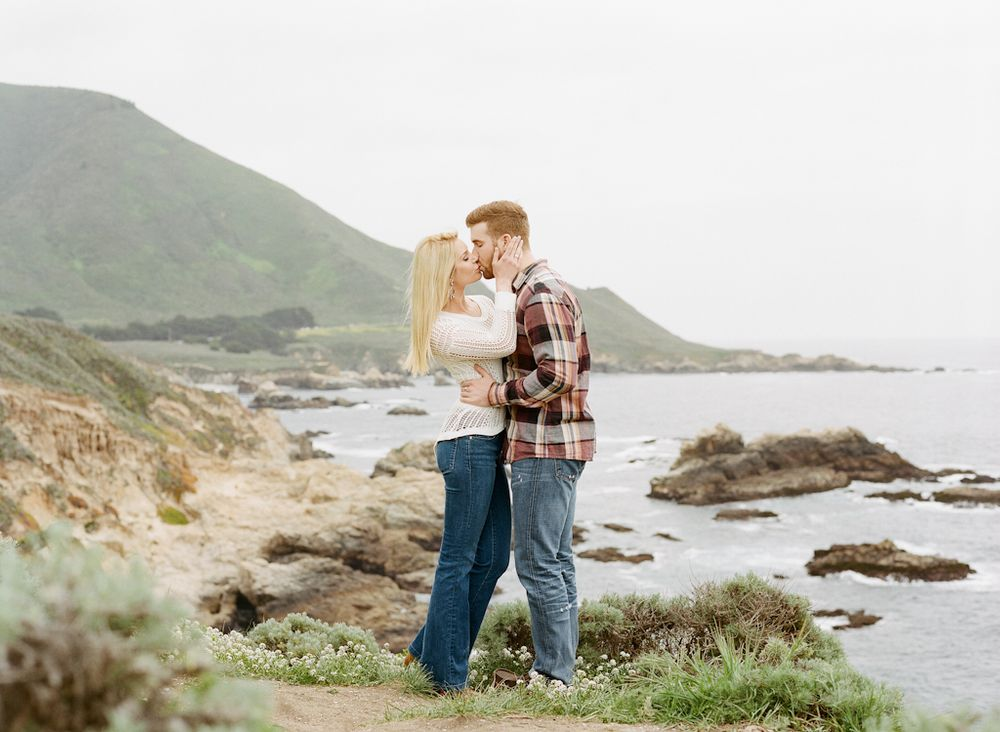 Carmel California wedding engagement photographer Aaron Snow Photography Point Lobos engagements couple kissing