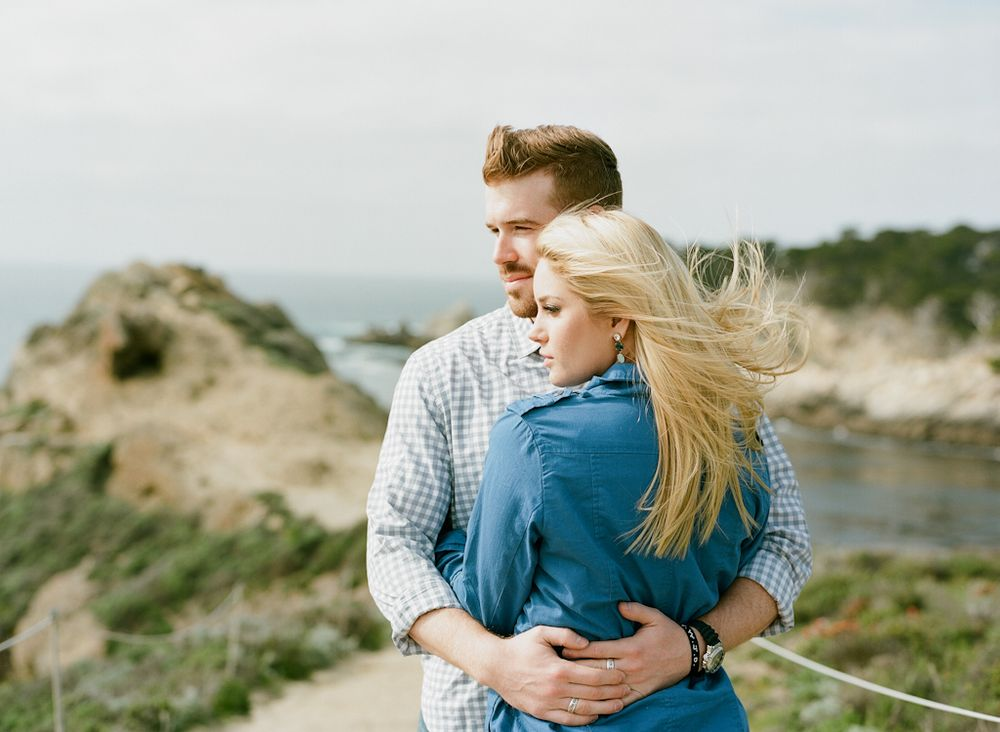 Carmel California wedding engagement photographer Aaron Snow Photography Point Lobos engagements couple embracing