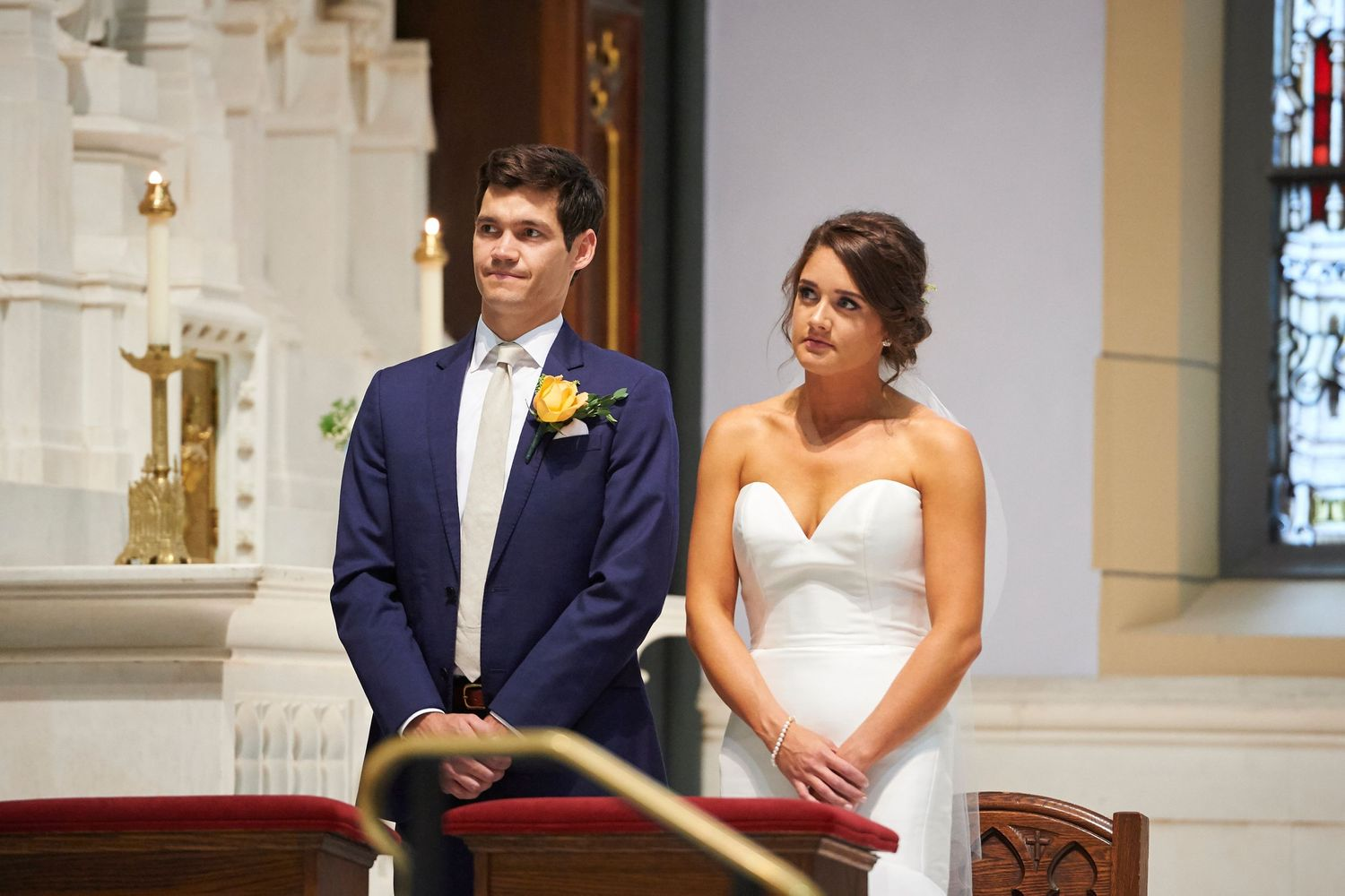 bride and groom during ceremony in philadelphia church