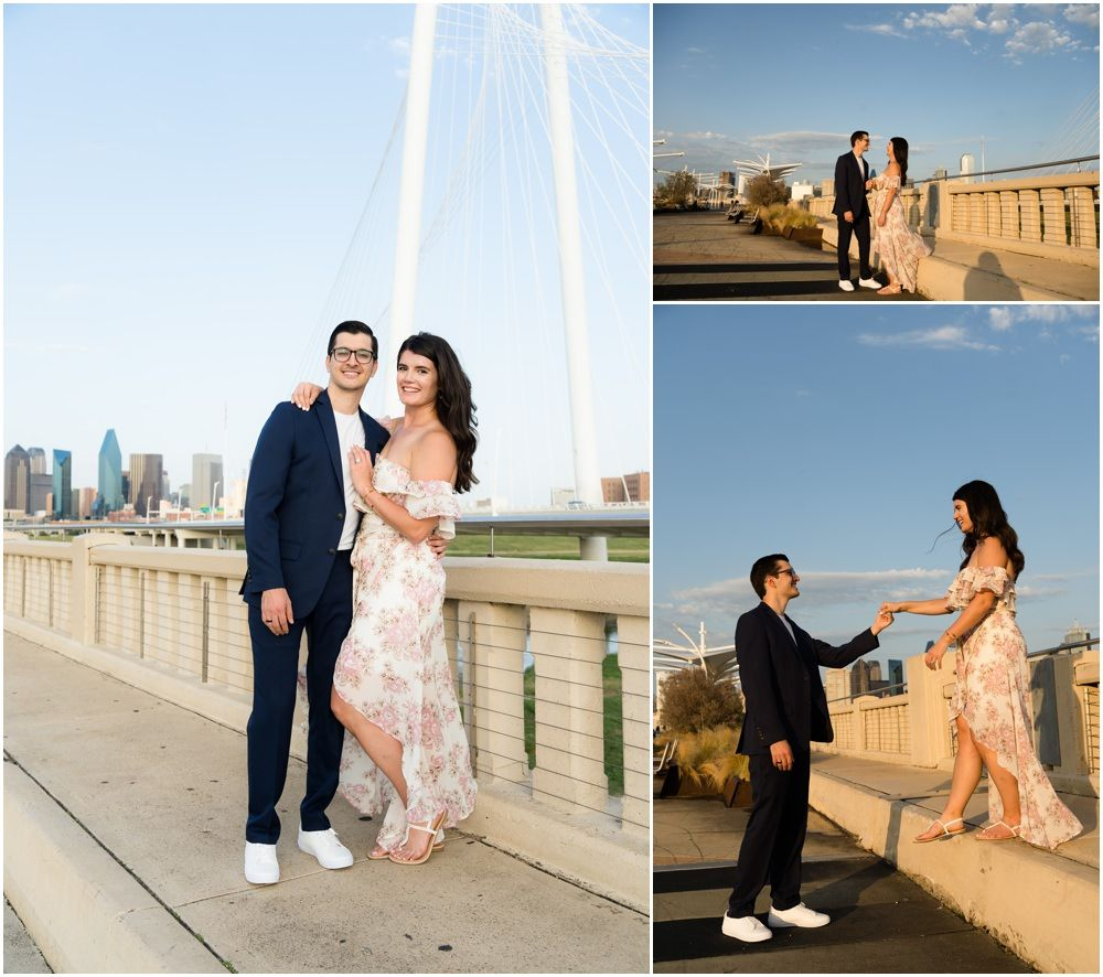 dallas engagement photography with view of downtown dallas texas by monica salazar wedding photography