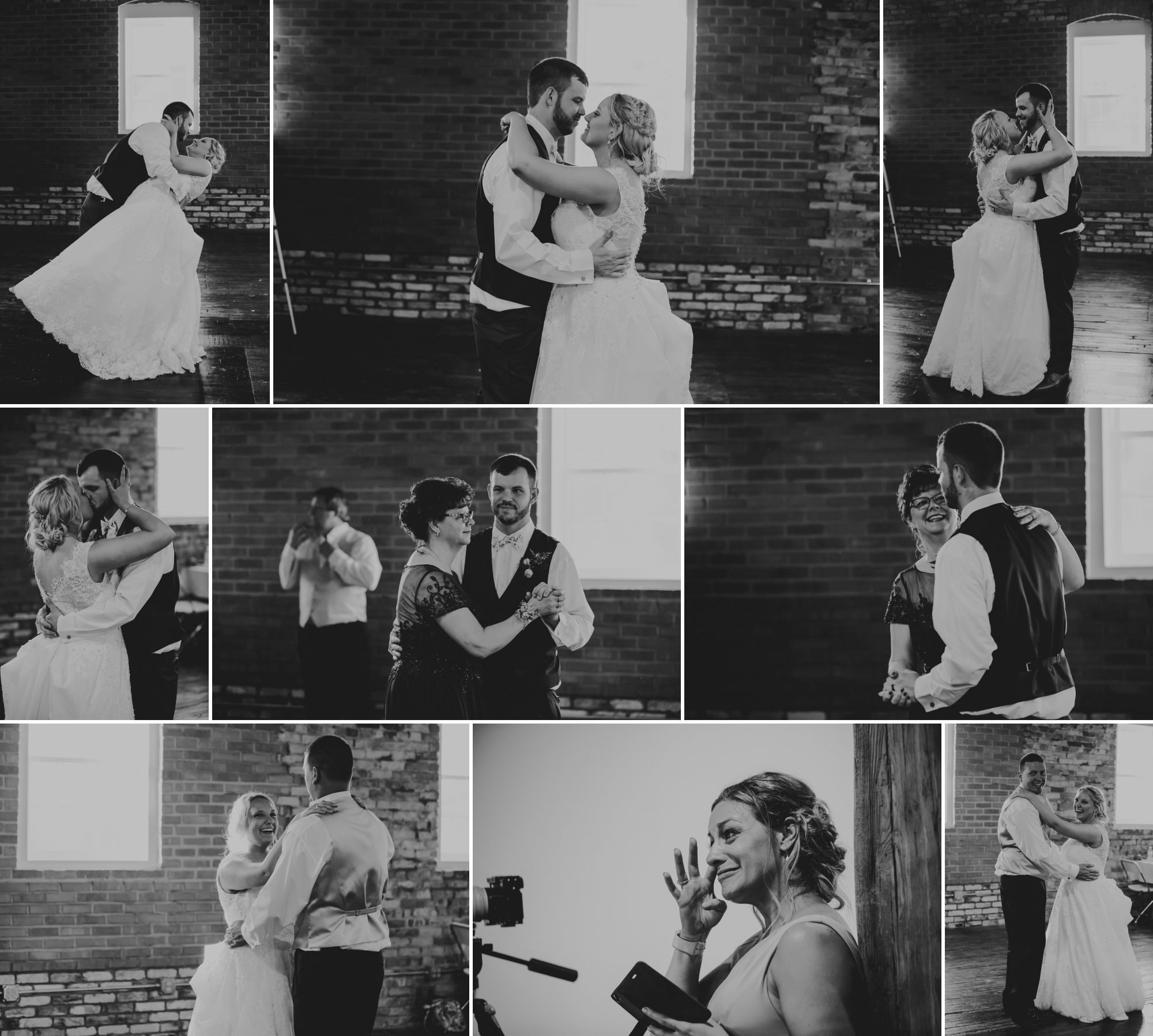 Black and white collage of the bride and groom dancing together then with groom's mom and bride's brother.