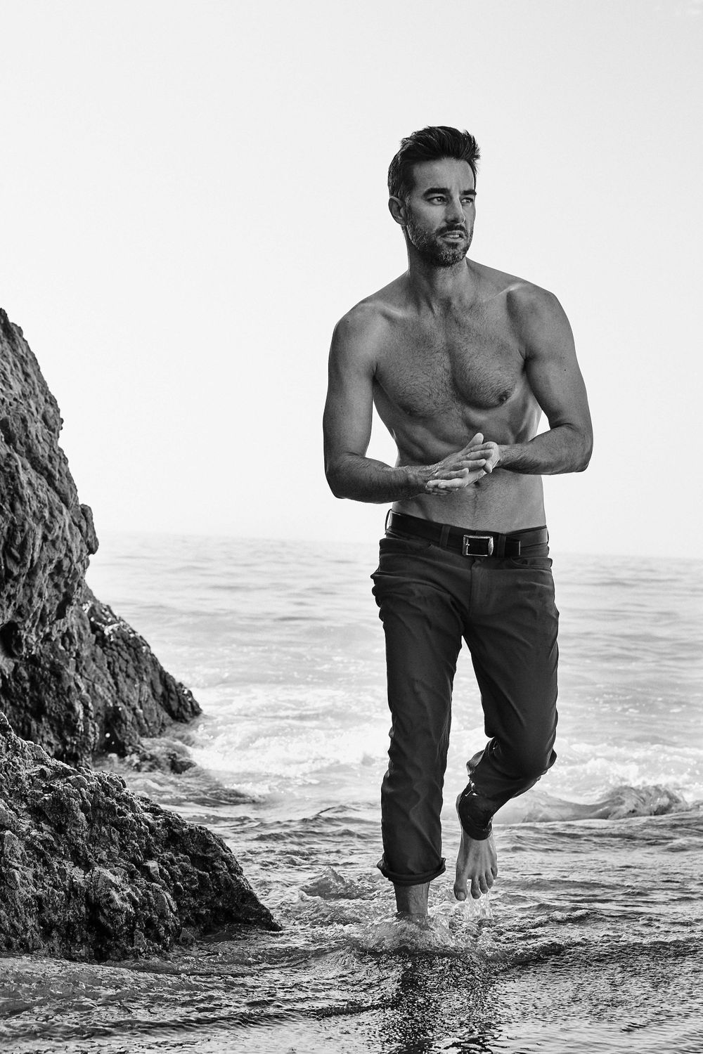 Model Colin Devitt from LA Models wearing Eddy Bauer trousers shirtless El Matador shirtless man of the world magazine