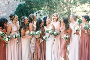 Sainte Genevieve Photography of bridal party in shades of pink taken by St Louis Wedding Photographer JKG Photography