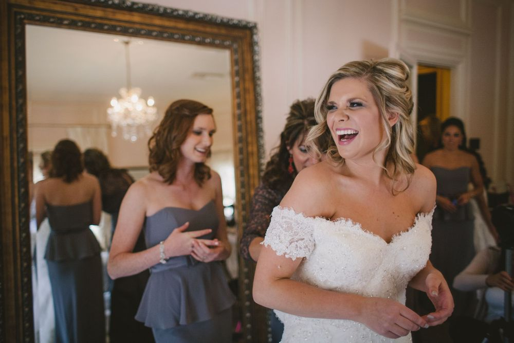 Highlands Ranch  Mansion Mountains Colorado destination bride laughing