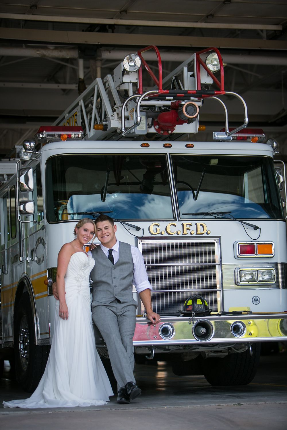 bride groom fire truck destination