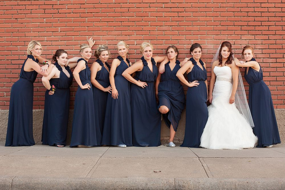 bridesmaids Scott City brick wall