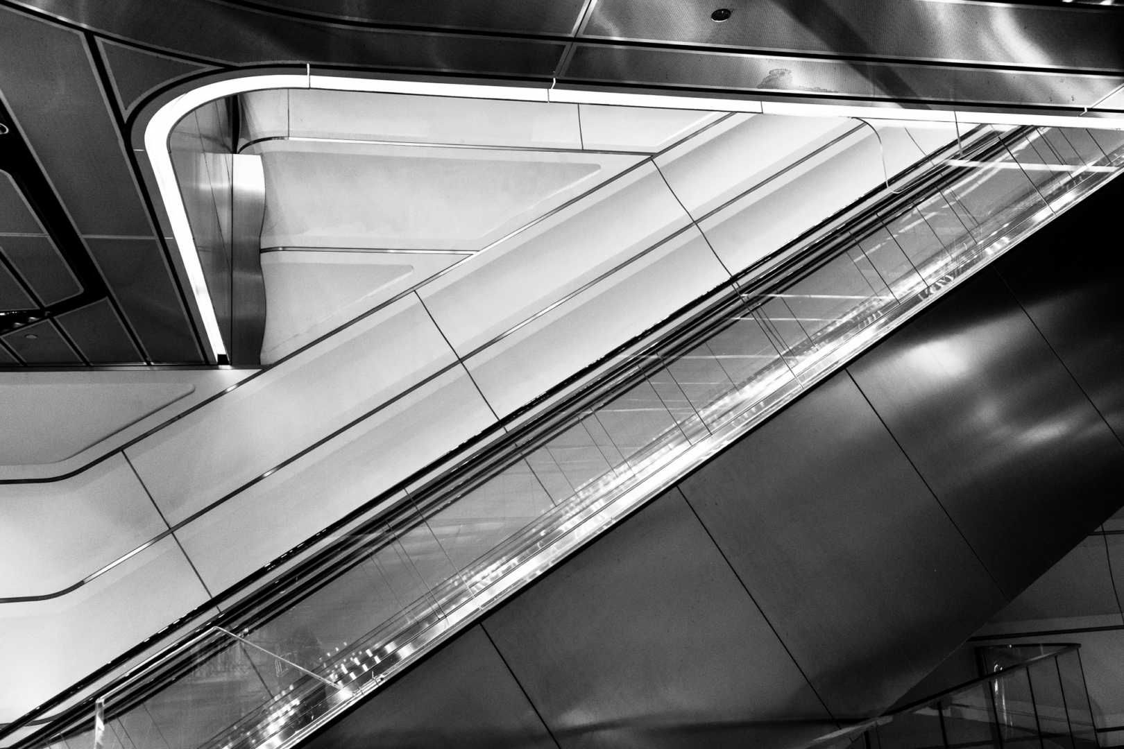 architectural photo of an escalator