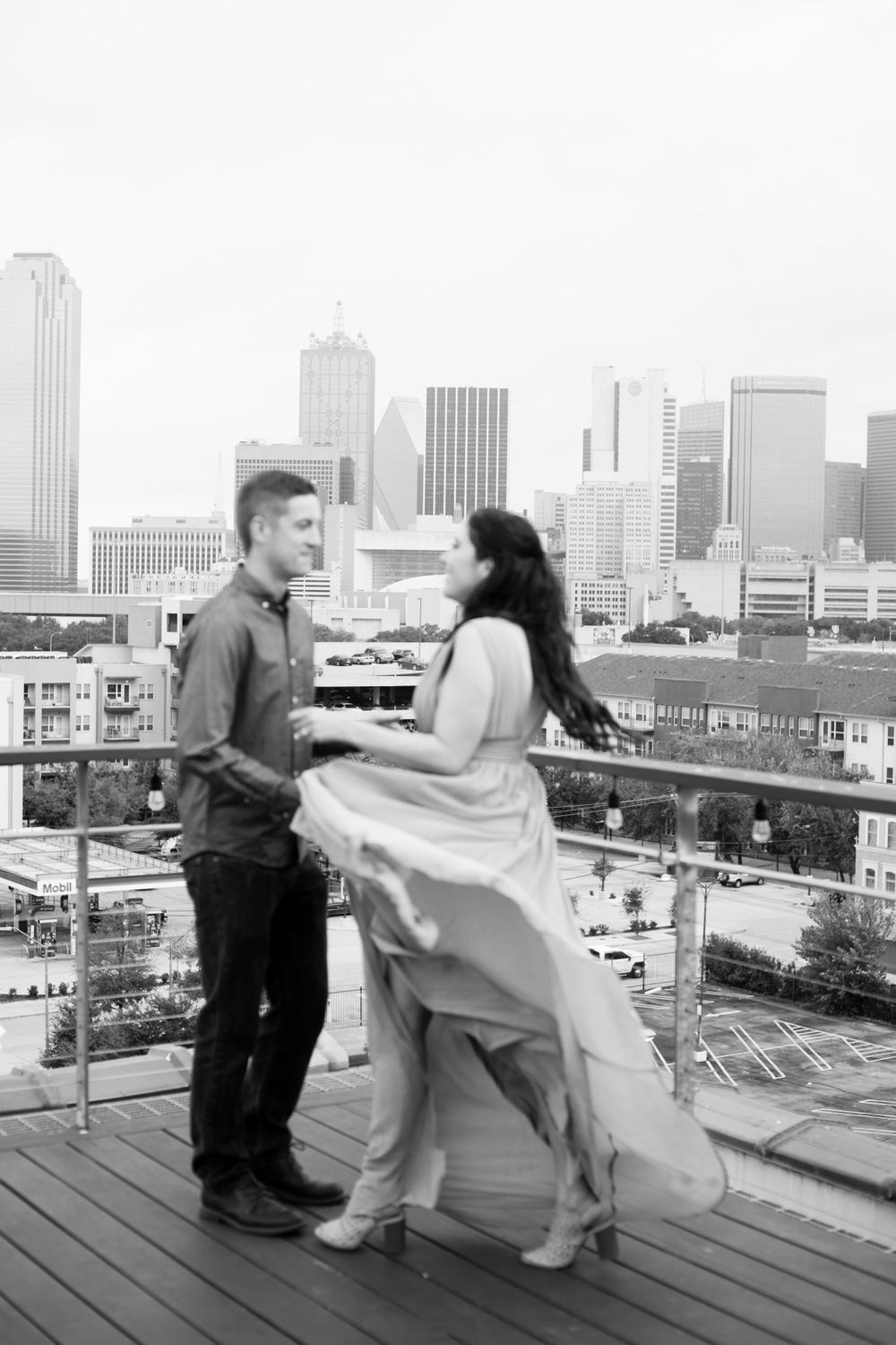 Engagement Session with rooftop views at CANVAS Hotel in Dallas.