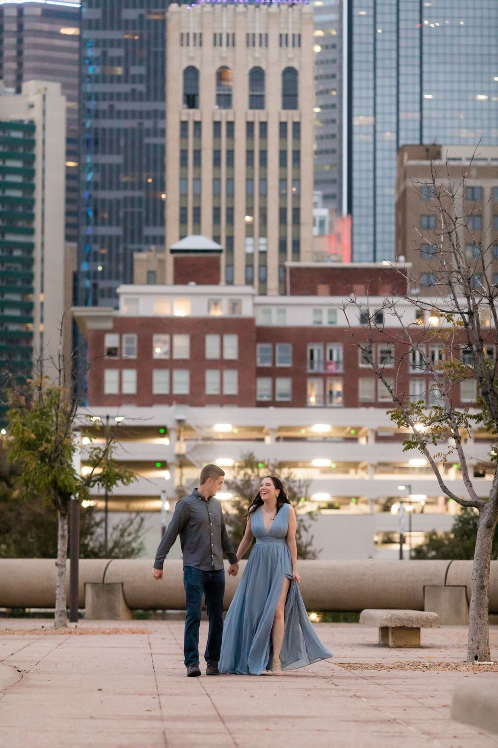 Engagement Session with city view at Dallas City Hall.