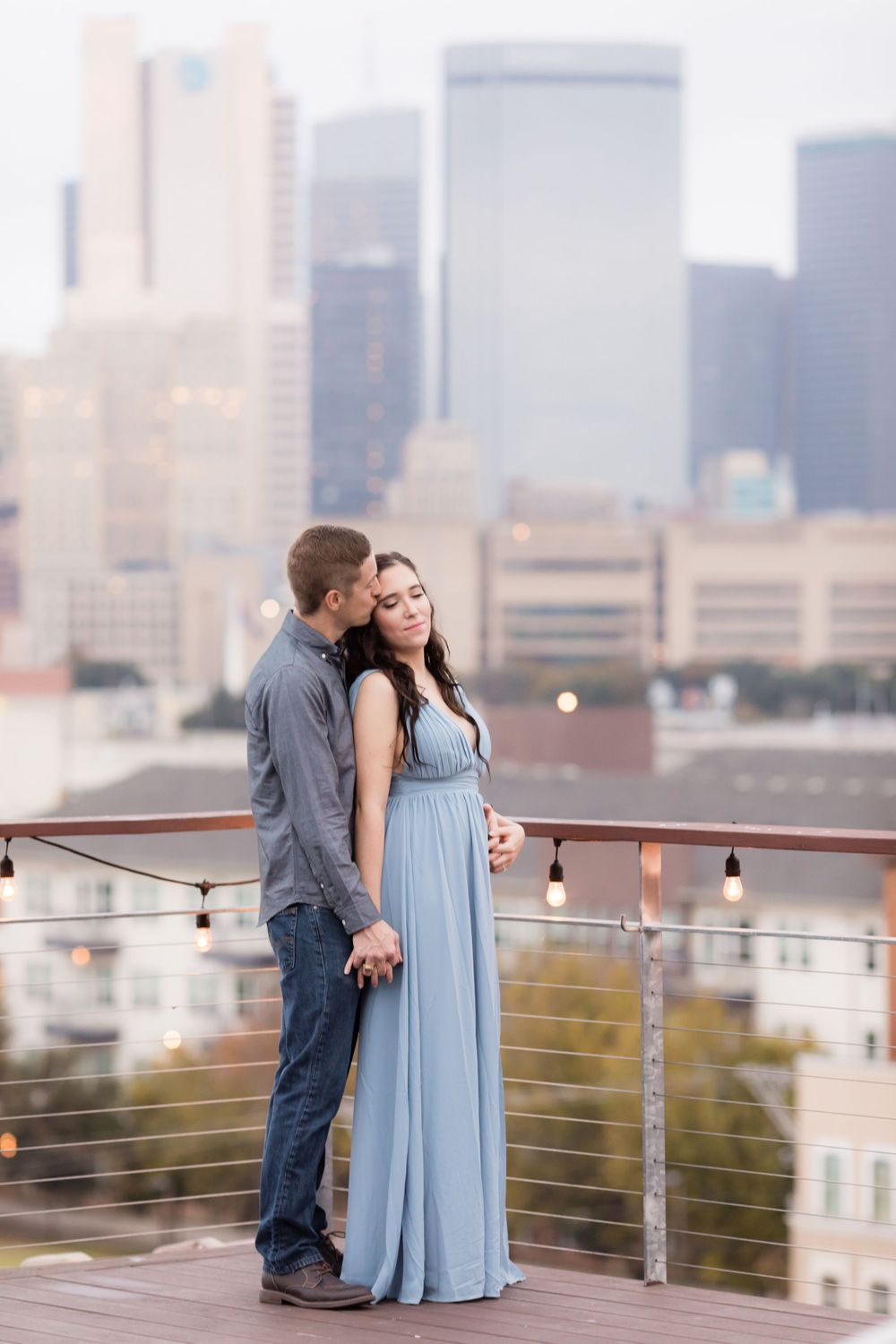 Engagement Session with rooftop view at CANVAS Hotel in Dallas.