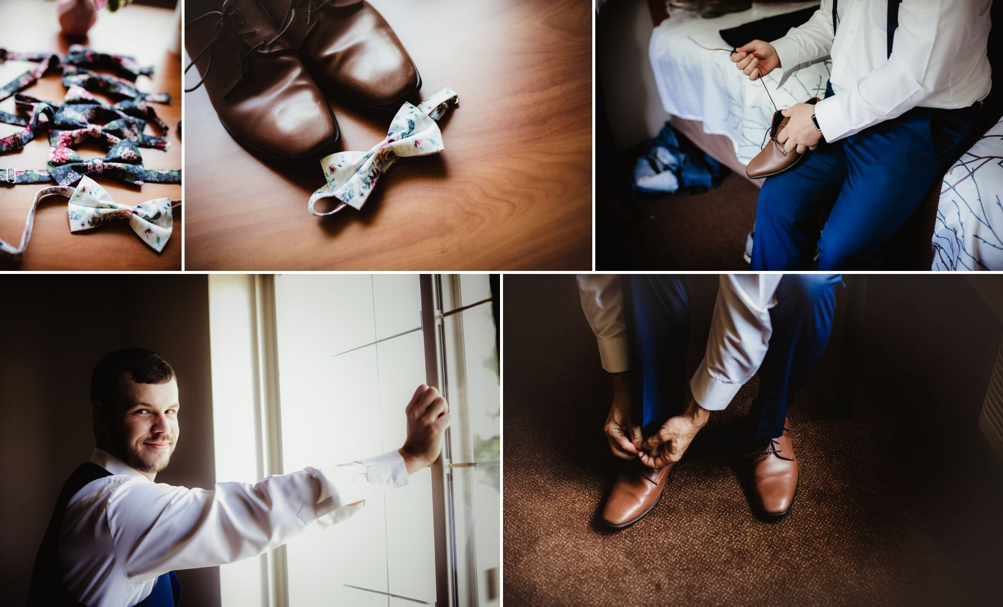 Collage of groom getting ready, tying shoes, bowties.