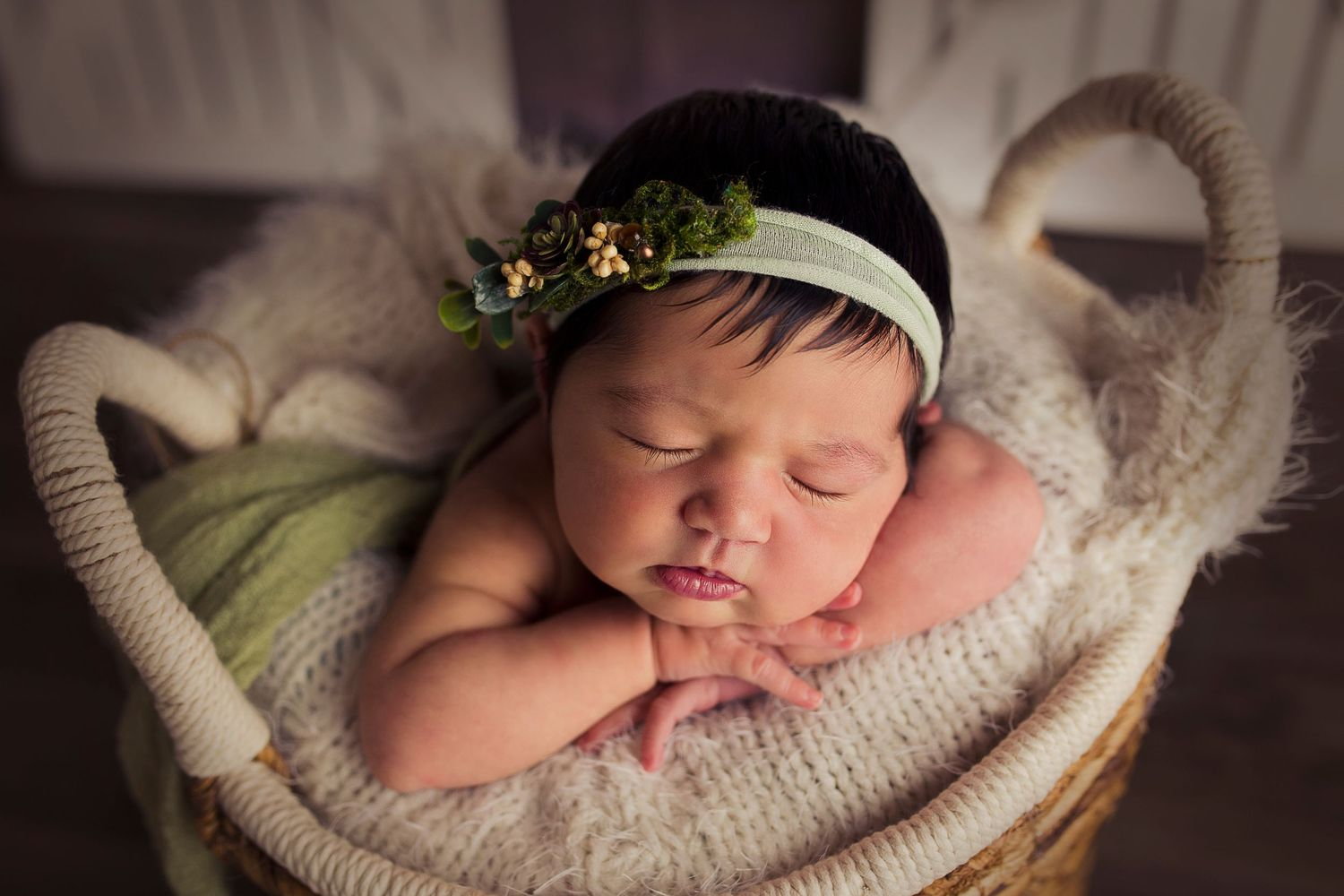 close up of baby girl in a basket greenery detres photography