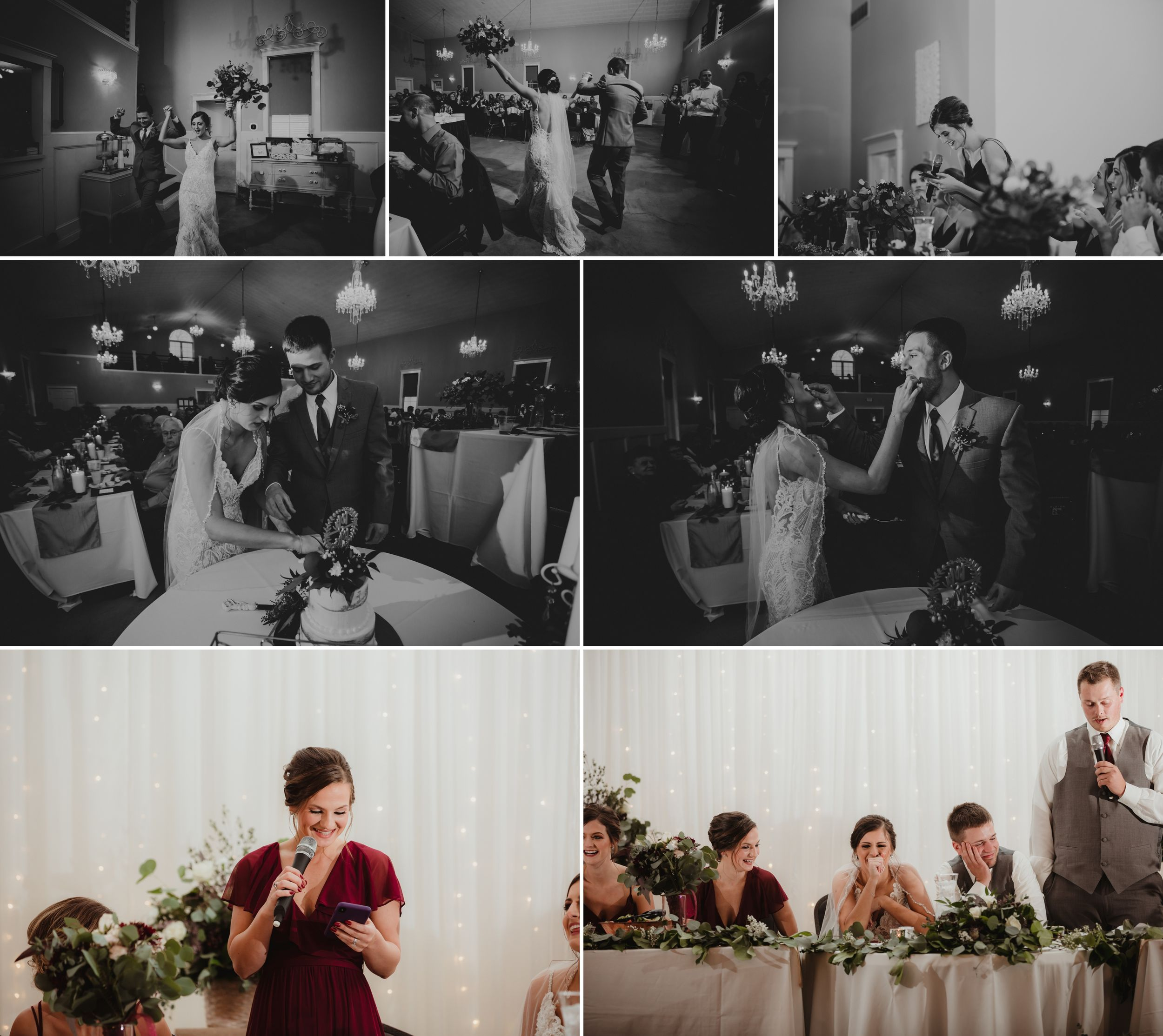 Collage of the bride and groom's entrance, cake cutting, and toasts.
