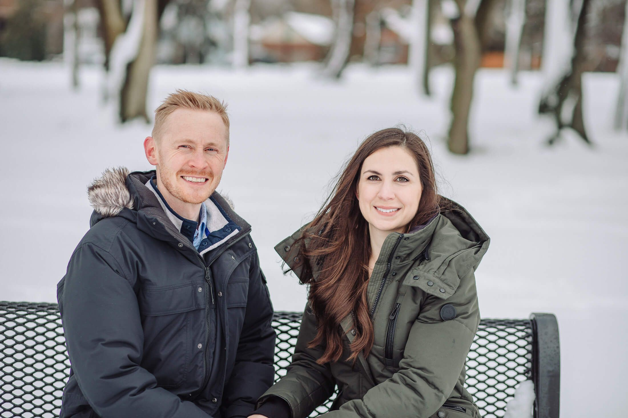 Winter engagement session at Cooper River Park in Cherry Hill, NJ.