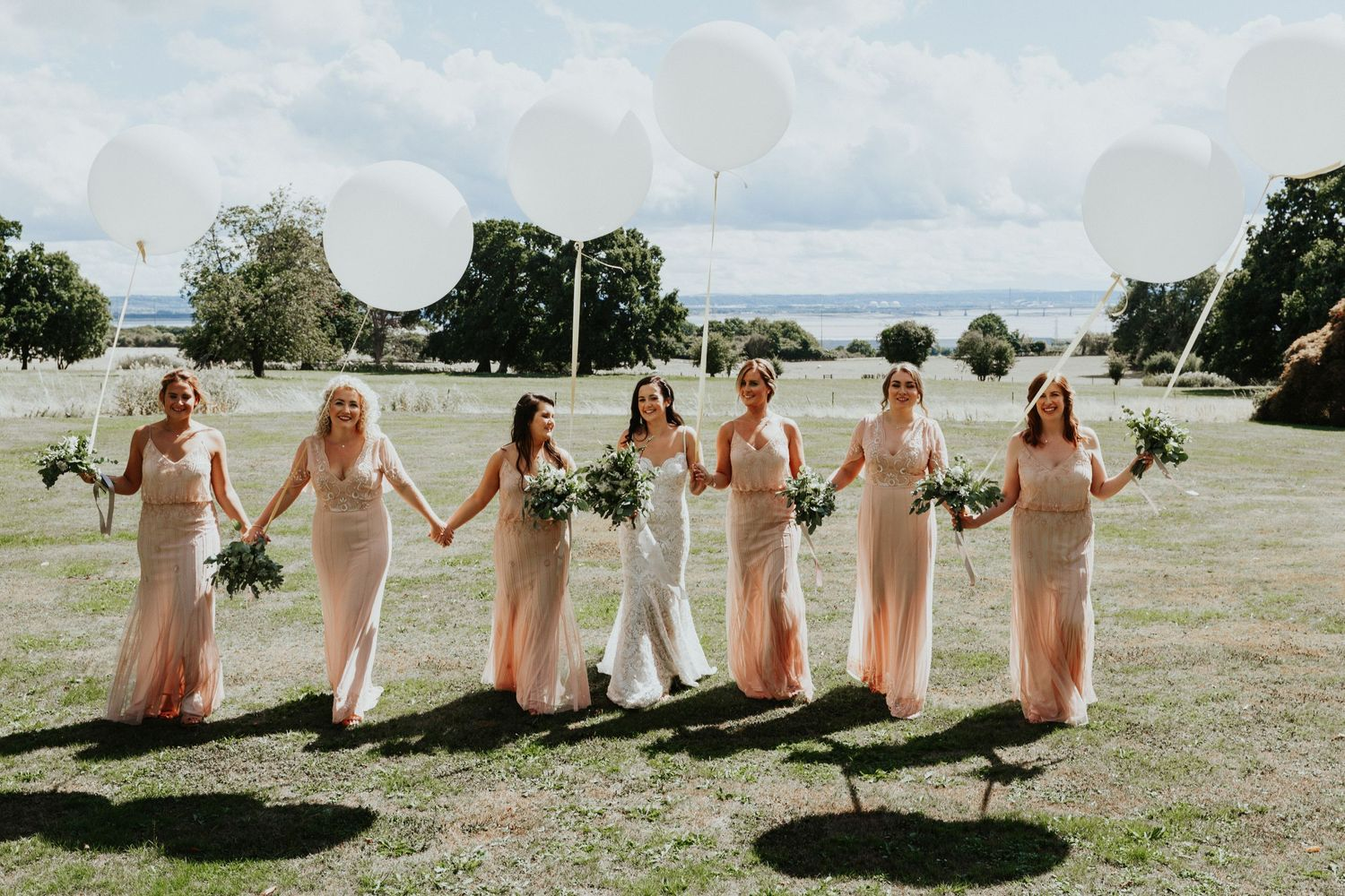 st tewdrics house wedding, bridesmaids group shots