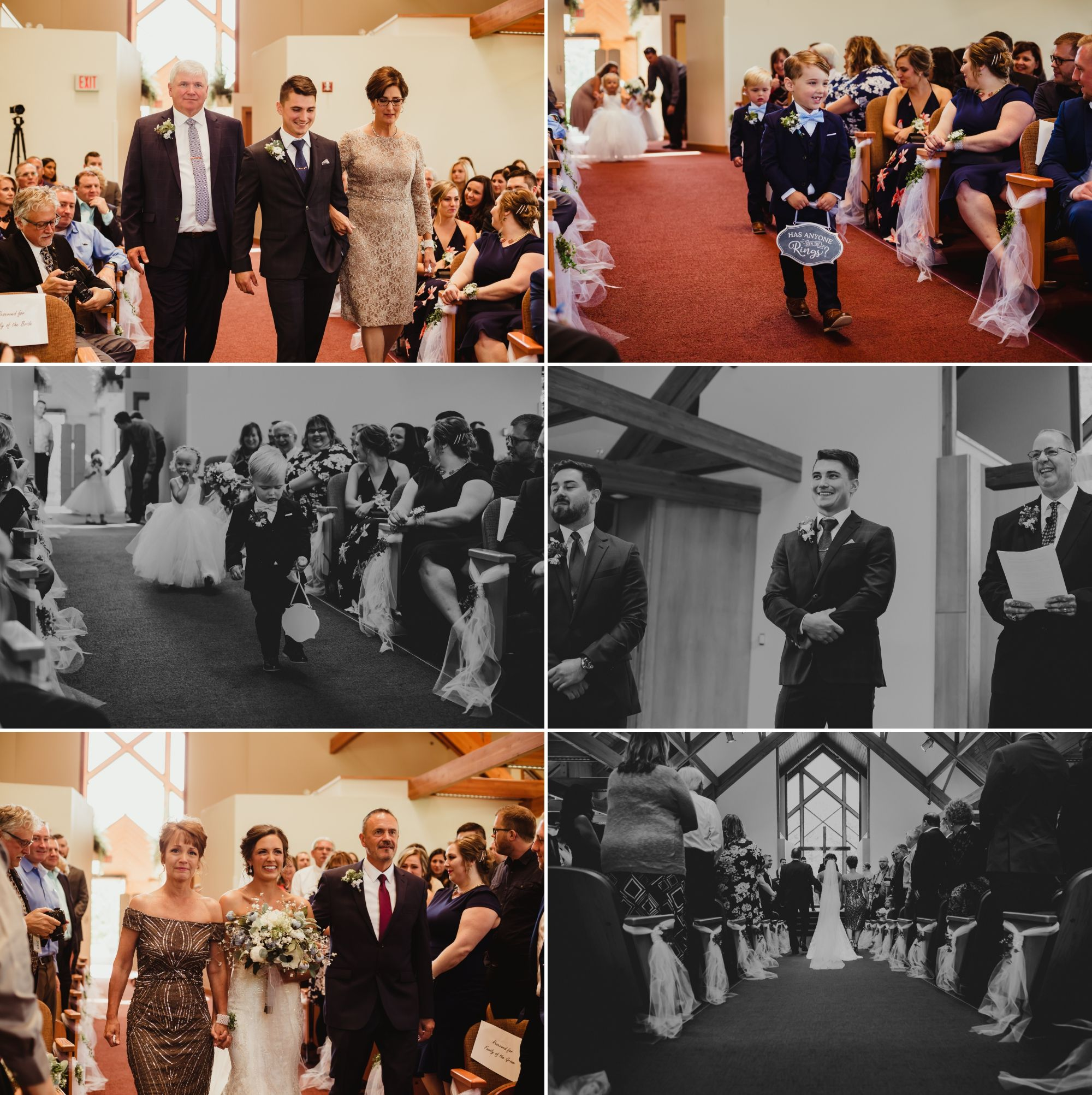 Collage of ring bearers, flower girl, bride, and her parents all walking down the aisle.