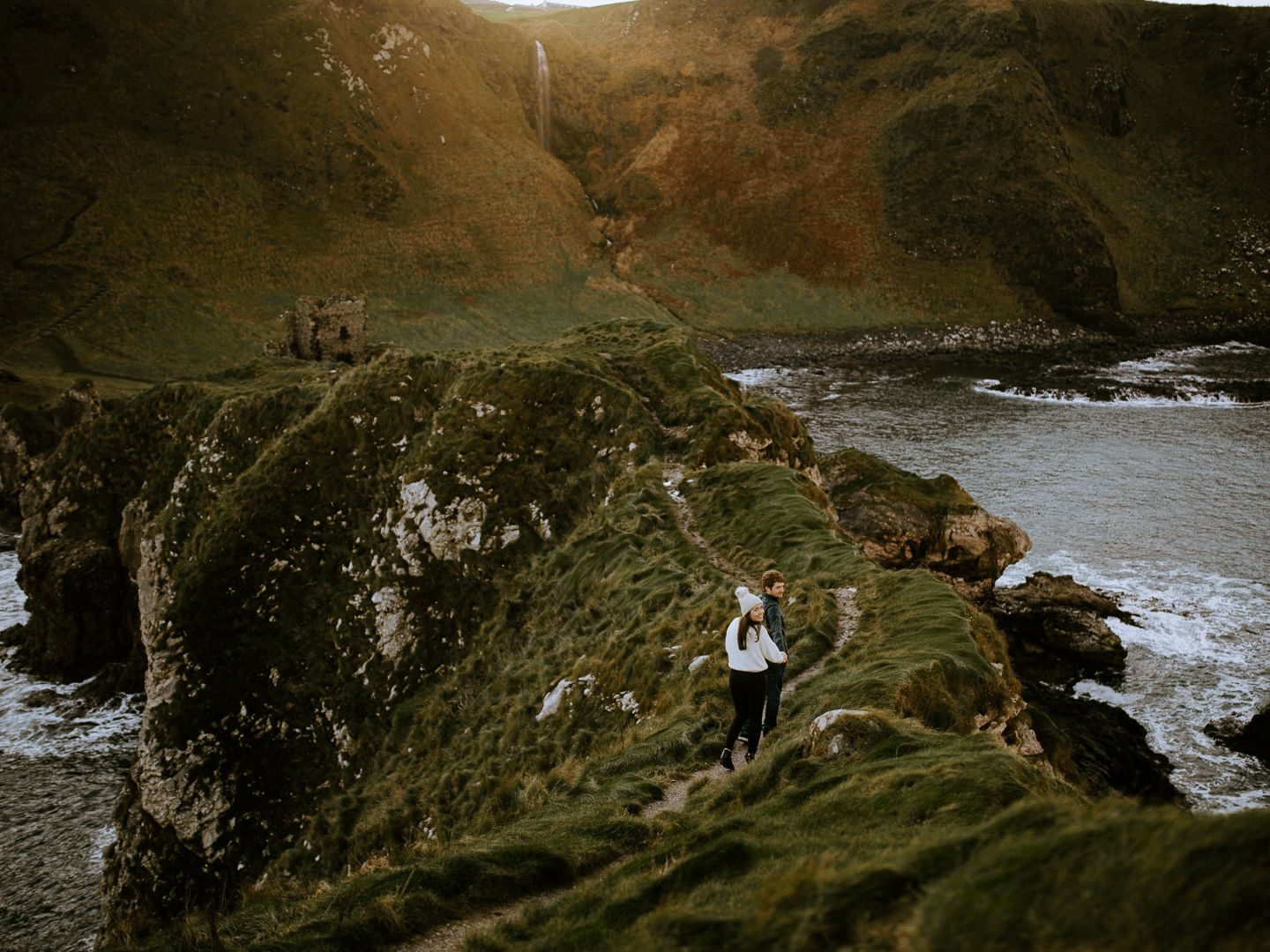 engagement photoshoot at Kinbane Castle in Northern Ireland's Causeway coast