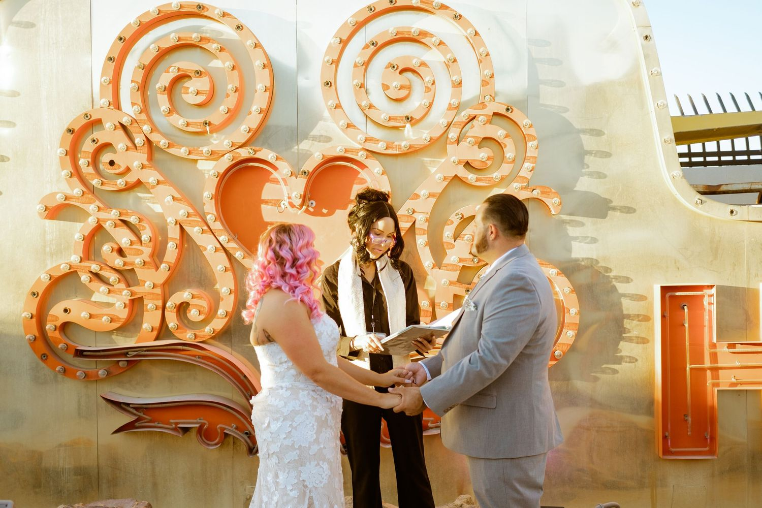 getting married at - Neon Museum - minister talks