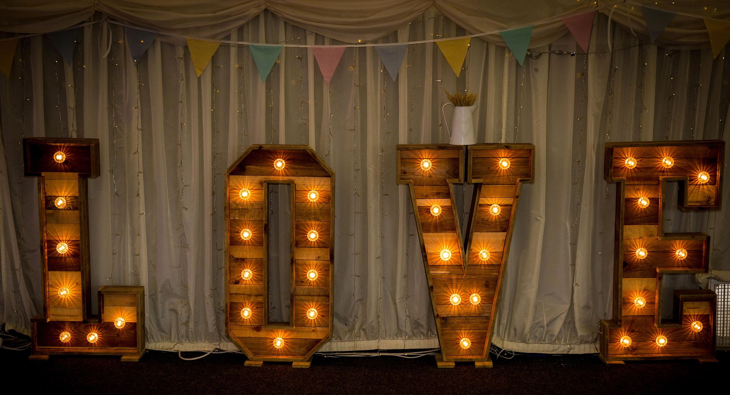 huge wooden illuminated love letters