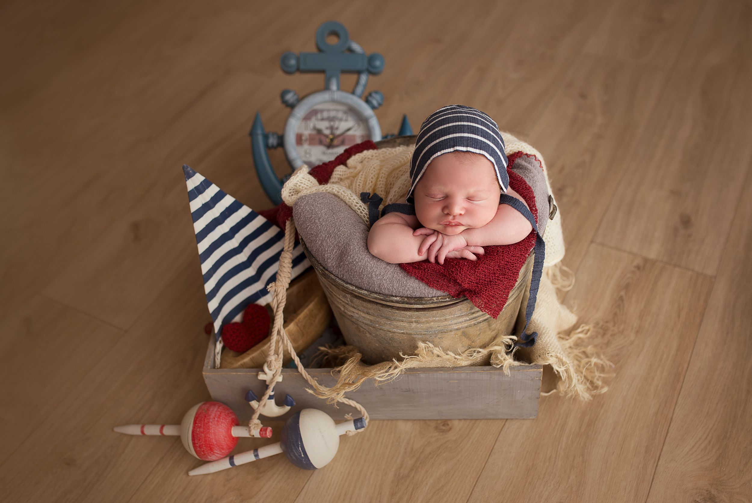 Nautical theme newborn boy set up