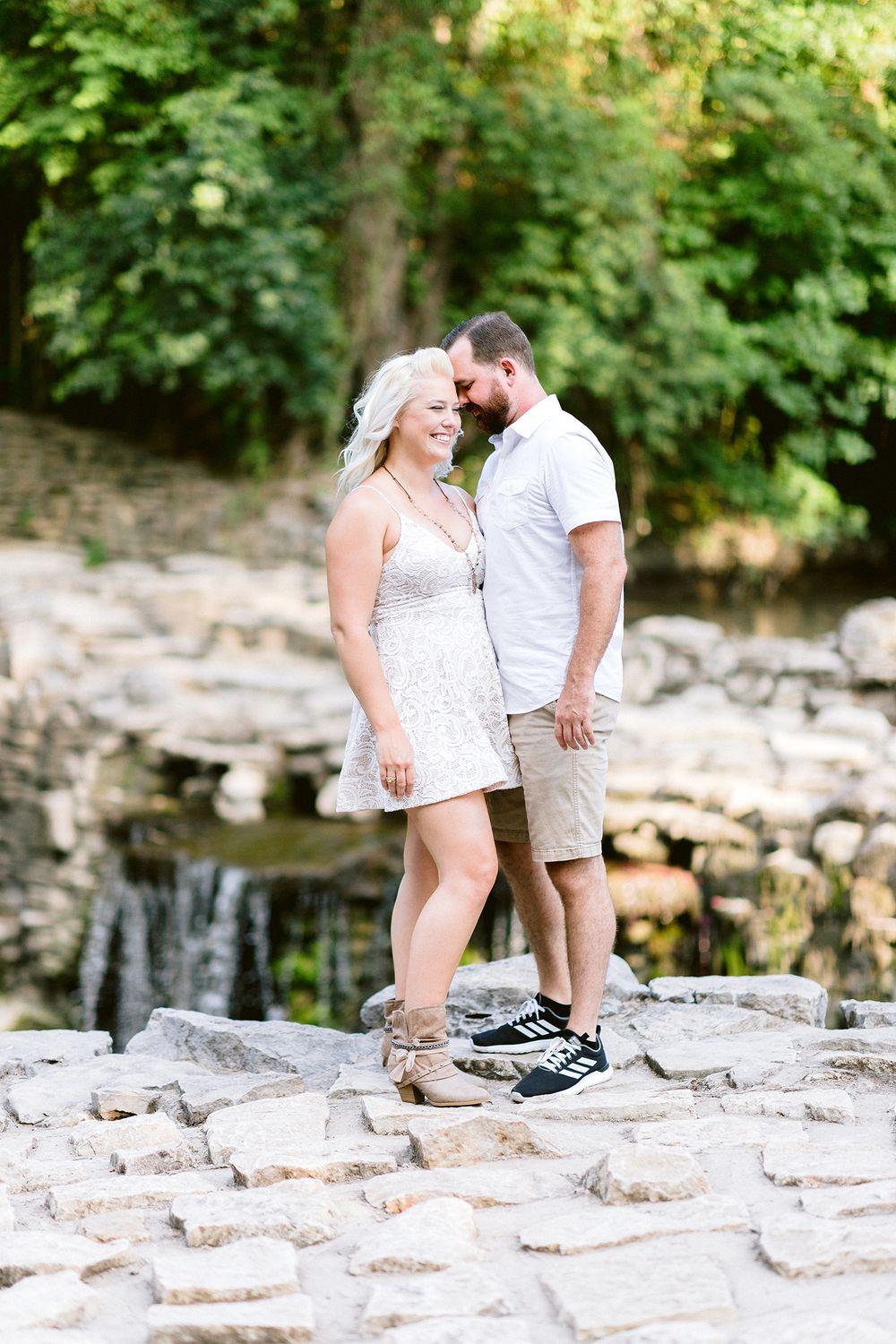 couple at waterfall Elizabeth Couch Photography Prairie creek engagement photos waterfall