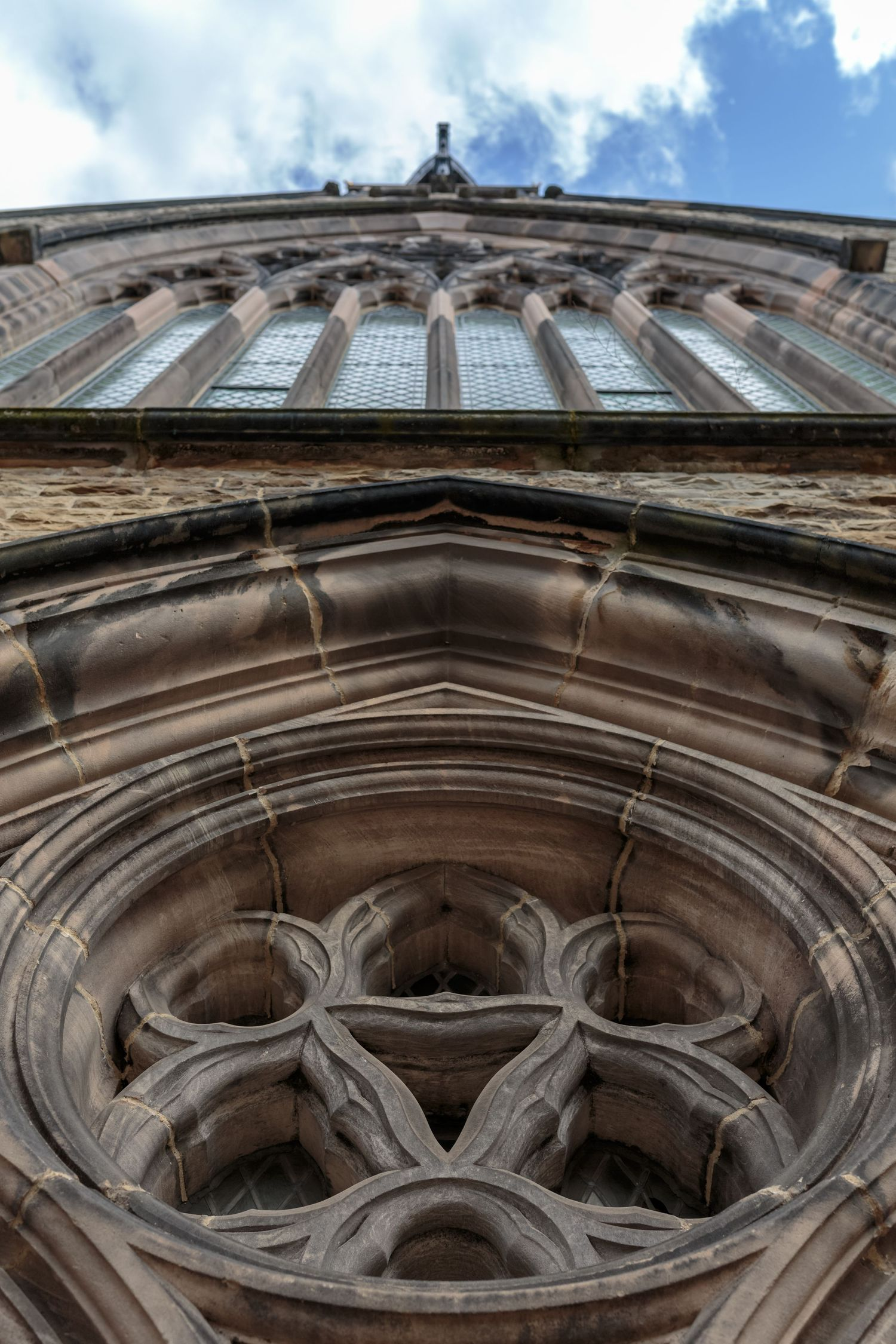 Shot straight up of the front of the ornate st.vincent de paul roman catholic church Liverpool city centre