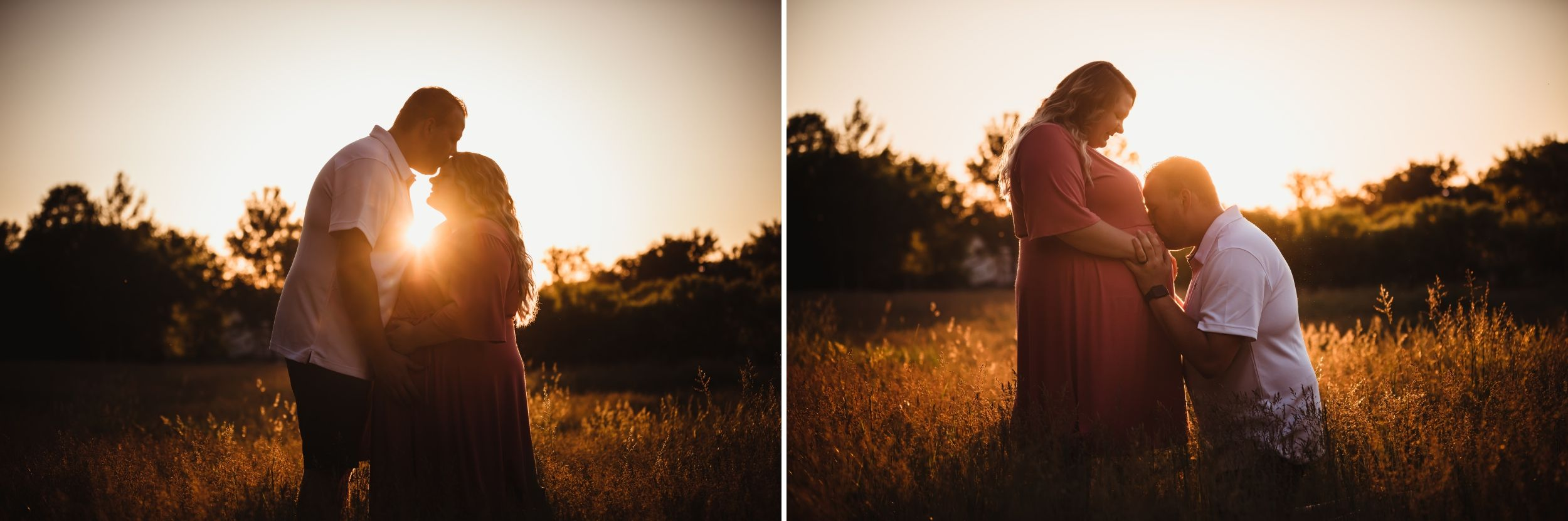 Dad kissing pregnant mom's forehead and then belly in a field at sunset.