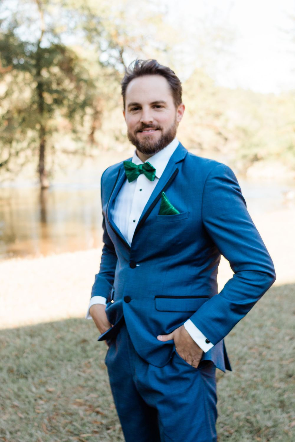 Groom in Navy tuxedo  Melissa and Chad Sandy Springs Wedding