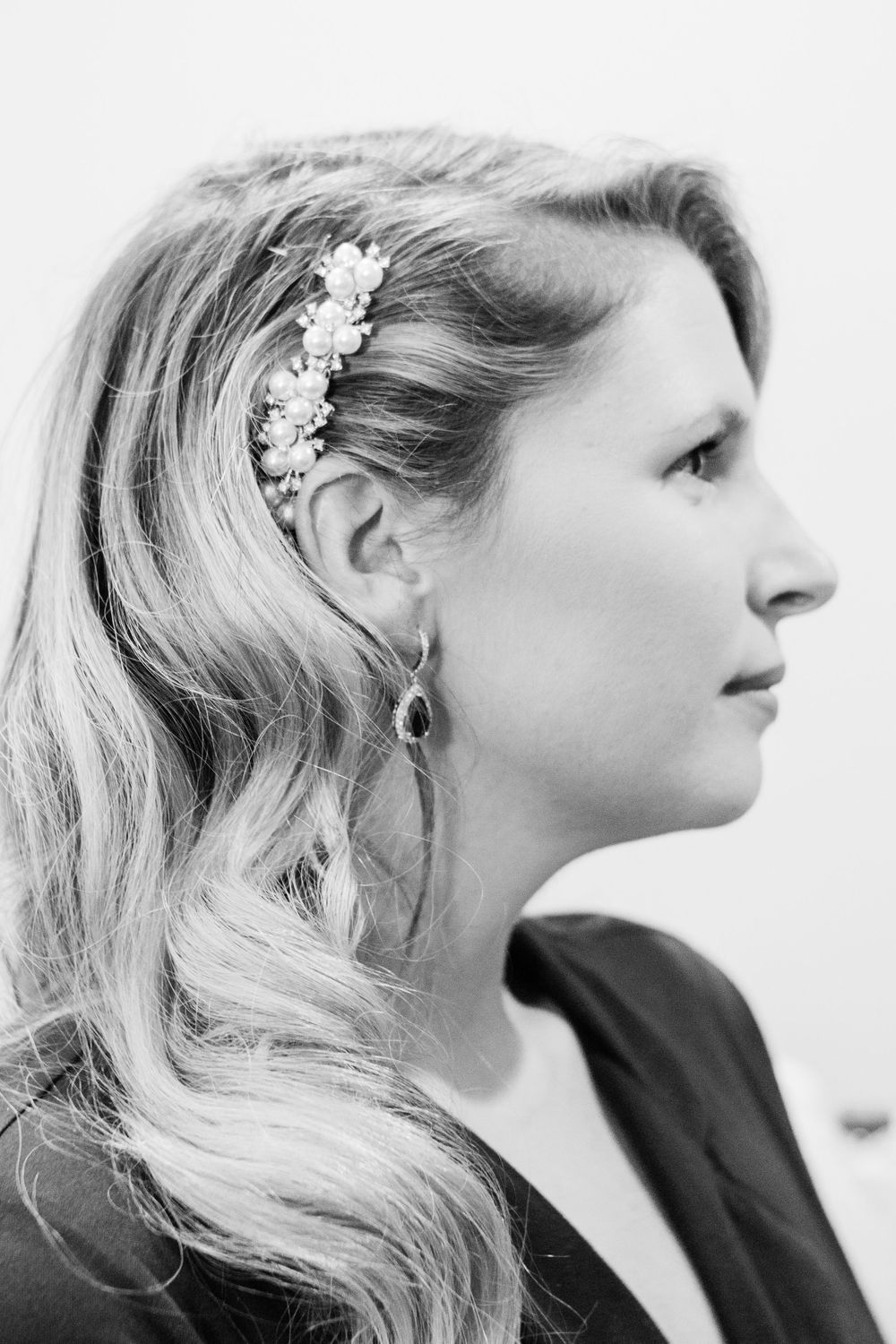Black and White Bridal profile portrait  Melissa and Chad Sandy Springs Wedding