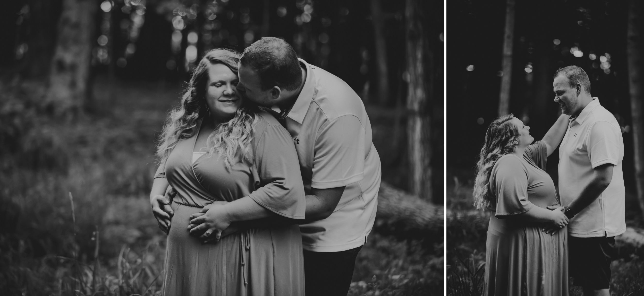 Black and white photos of a man and pregnant woman embracing in the woods.