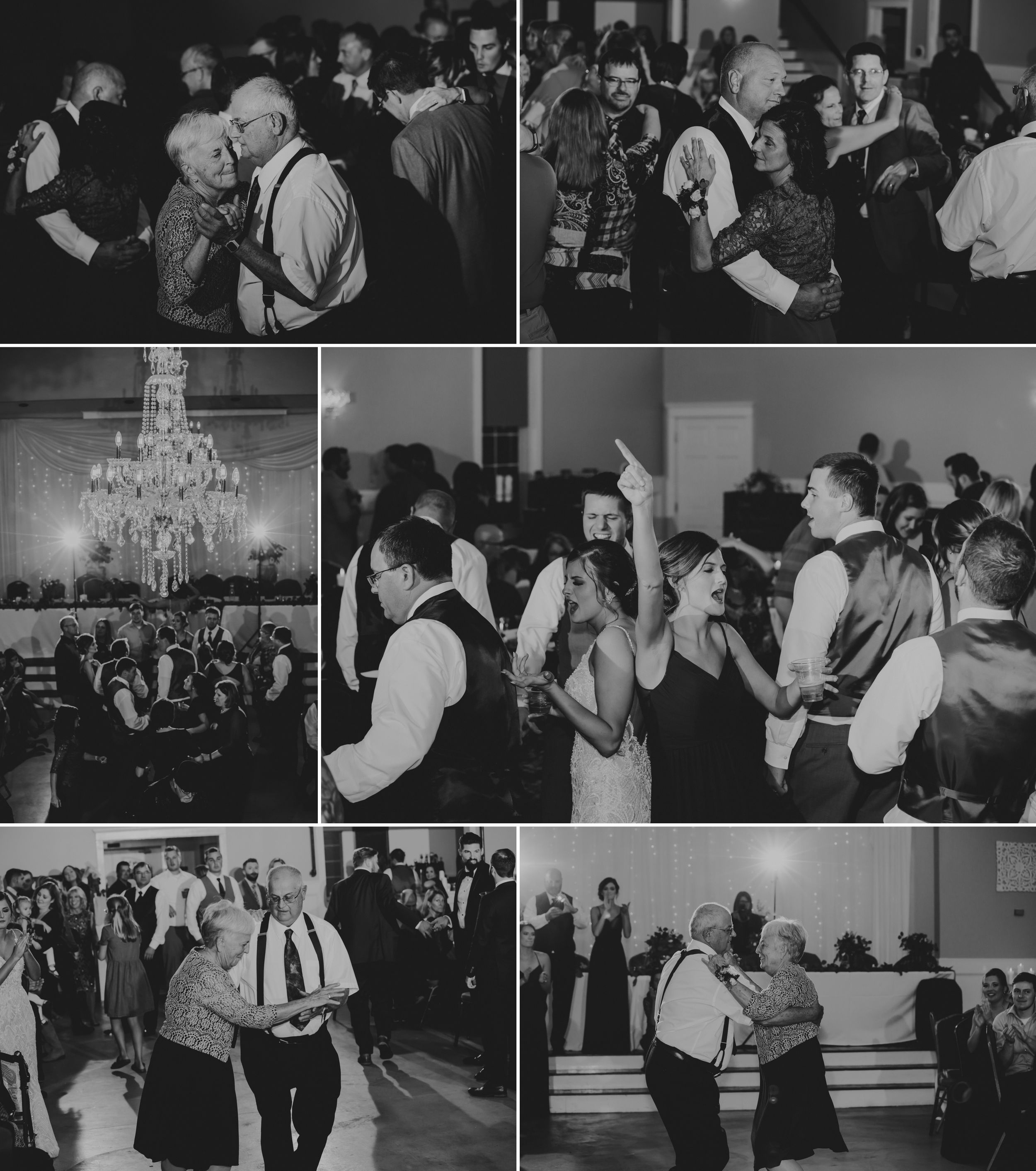 Black and white collage of everyone on the dance floor. Many shots of bride's grandparents. A chandelier above everyone.
