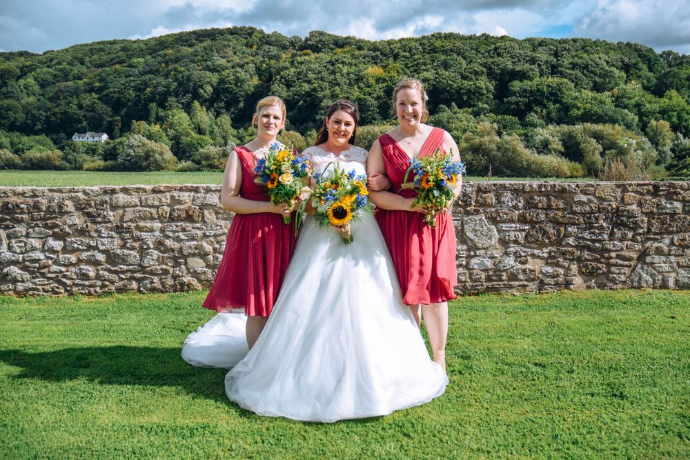 Zara Davis Wedding Photography near Stroud, Gloucestershire in the Cotswolds Flanesford Priory bride and bridesmaids