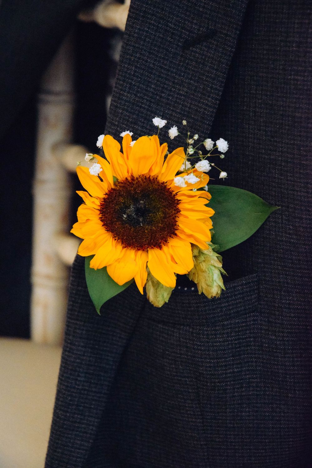 Zara Davis Wedding Photography near Stroud, Gloucestershire in the Cotswolds Flanesford Priory sunflower buttonhole
