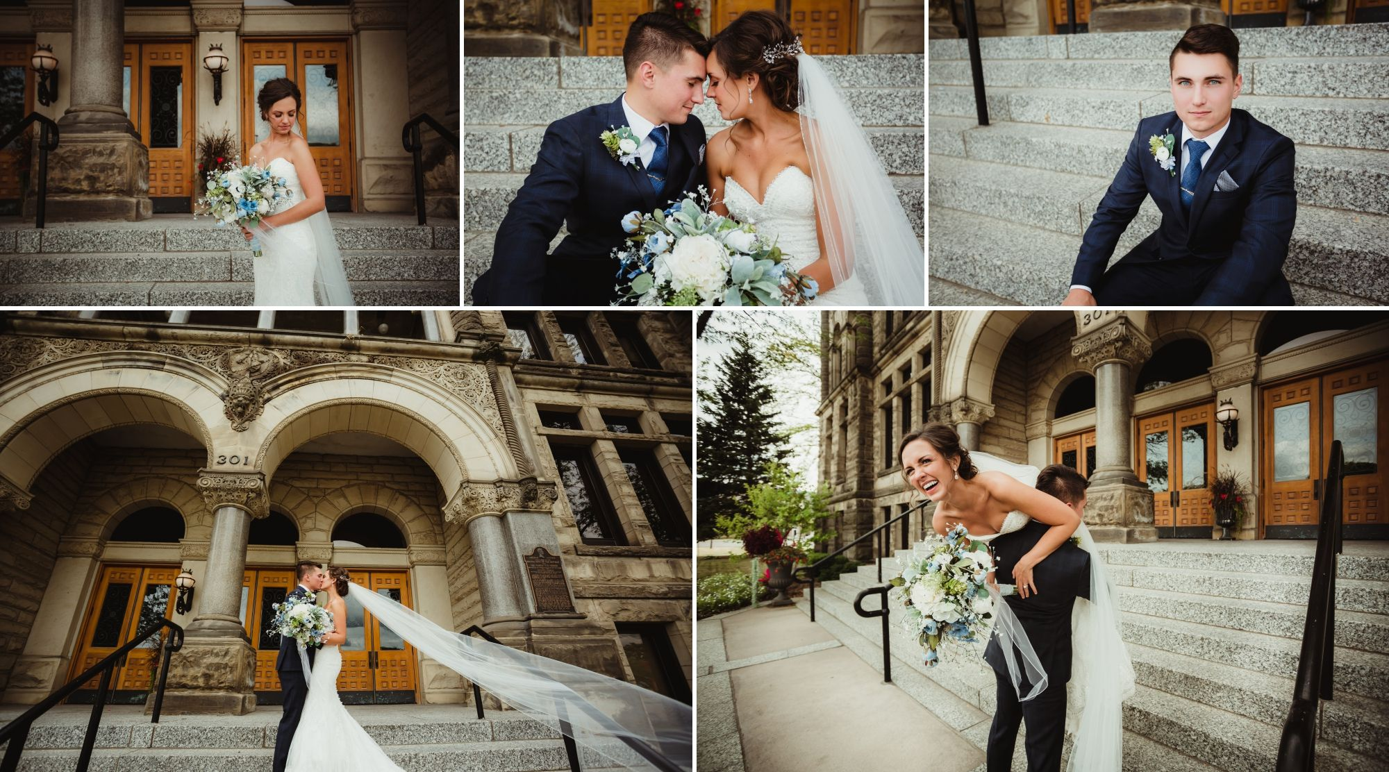 Collage of photos of the bride and groom by the courthouse steps in Bay City.