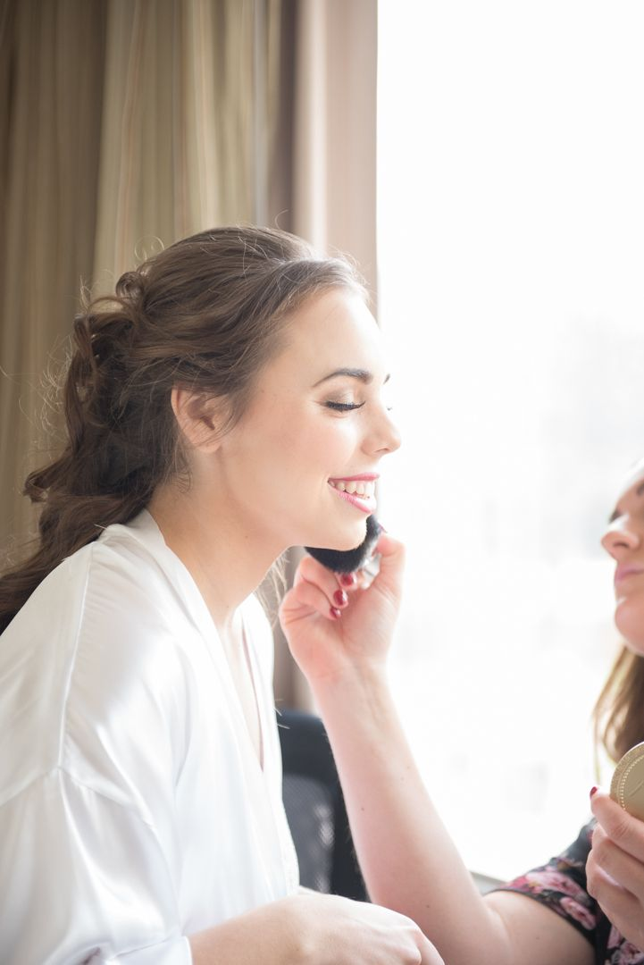 Bride Getting Ready with HMUA / Detroit MI Wedding Photographer / Jam Handy / DAC / Shinola / Planterra / Belle Isle