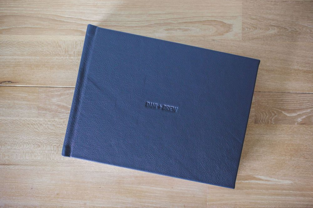 Leather cover with name embossing on Fine Art Album
