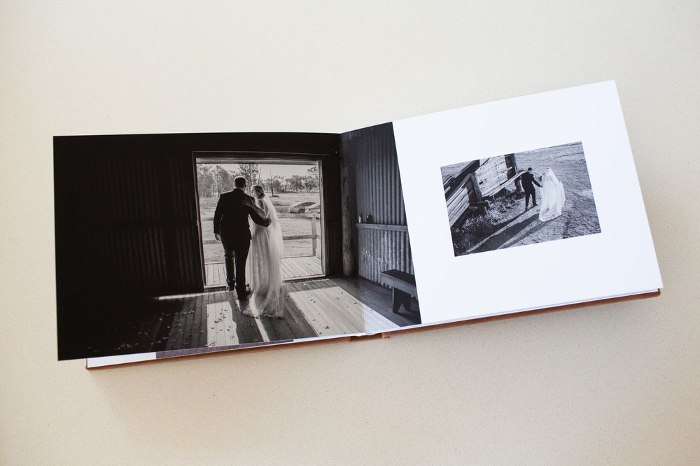 Black and white photos in Wedding Album
