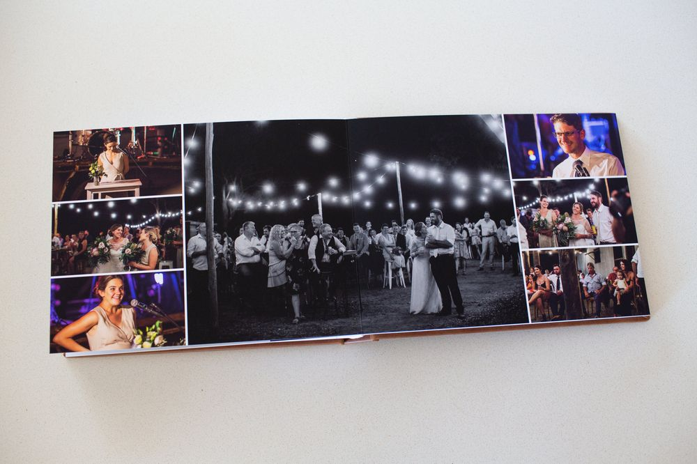 Wedding reception page in wedding album
