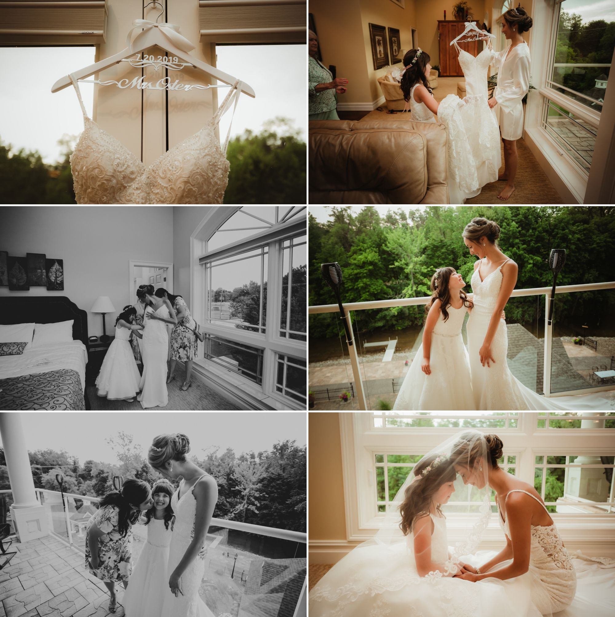 Photos of bride and flower girl getting ready together.