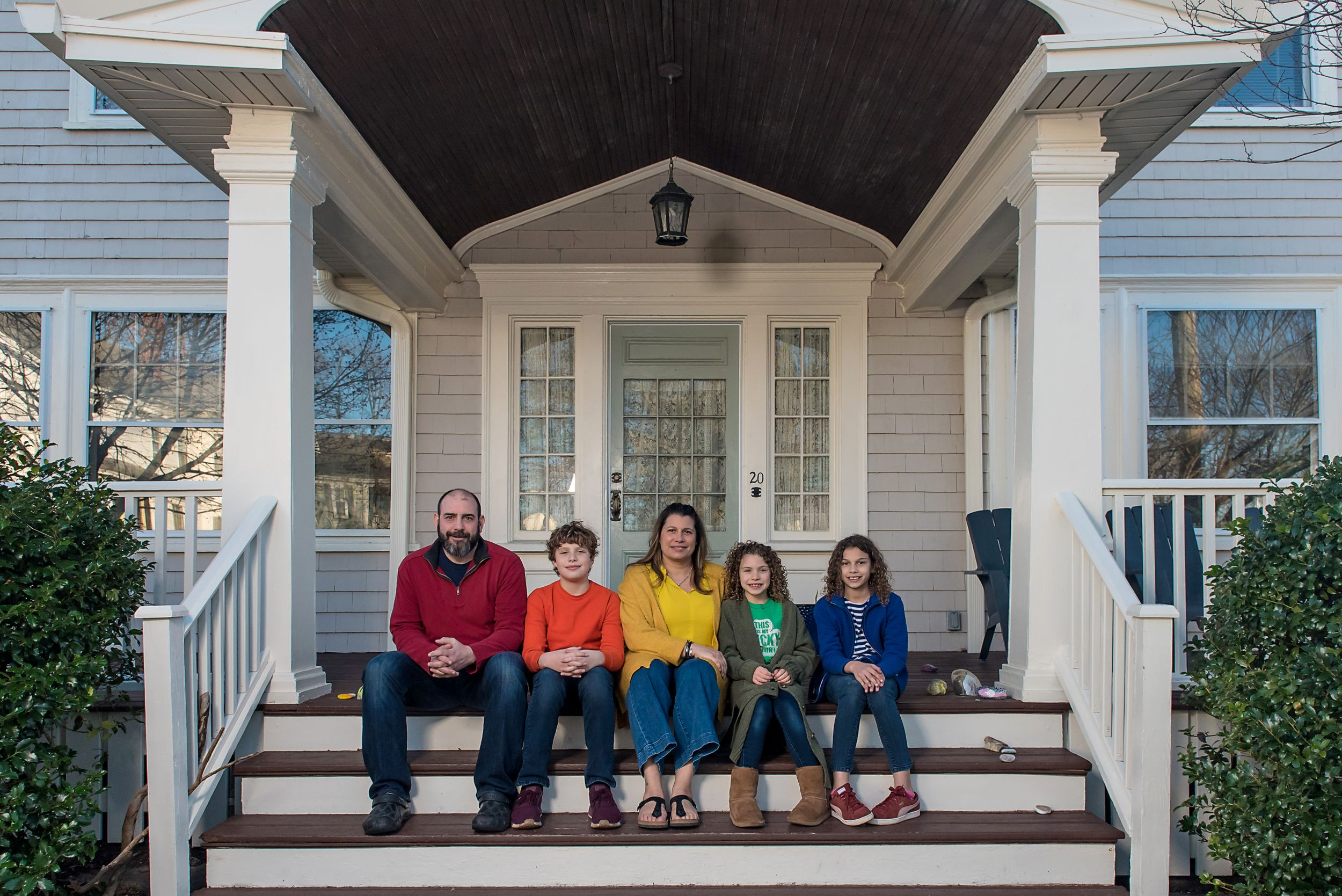 The Tasty owner's Mike and Nina Peters at home with their children in Plymouth MA
