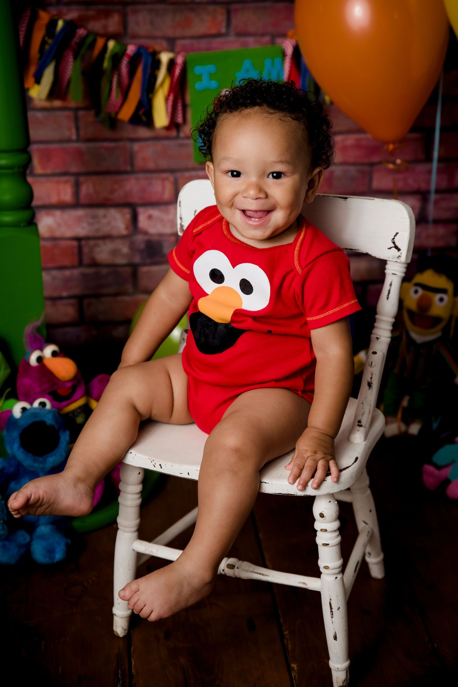 one year old boy Sesame Street Elmo