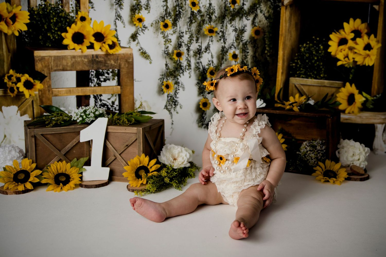 one year old girl sunflower theme