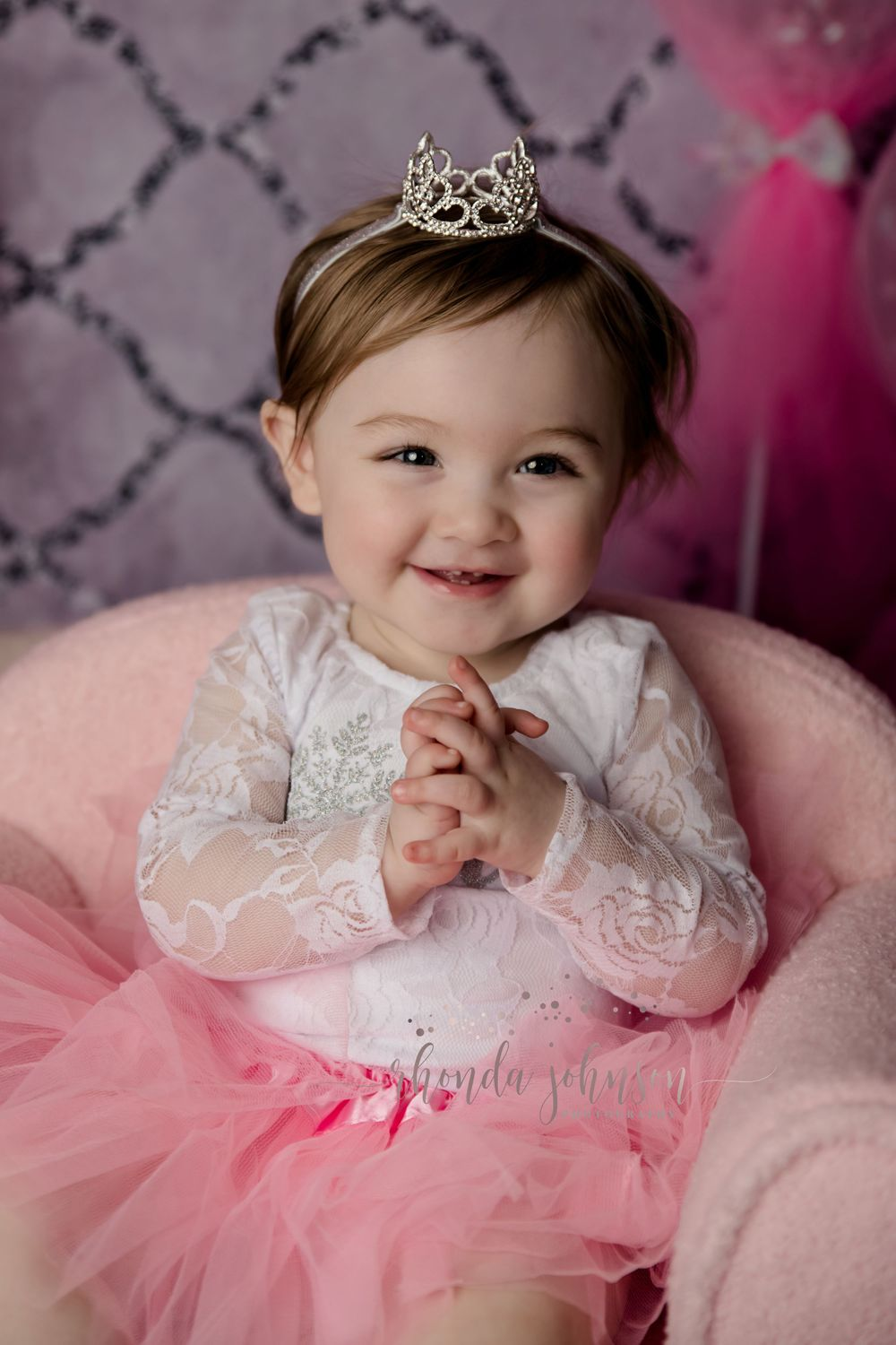 one year old girl pink tutu crown