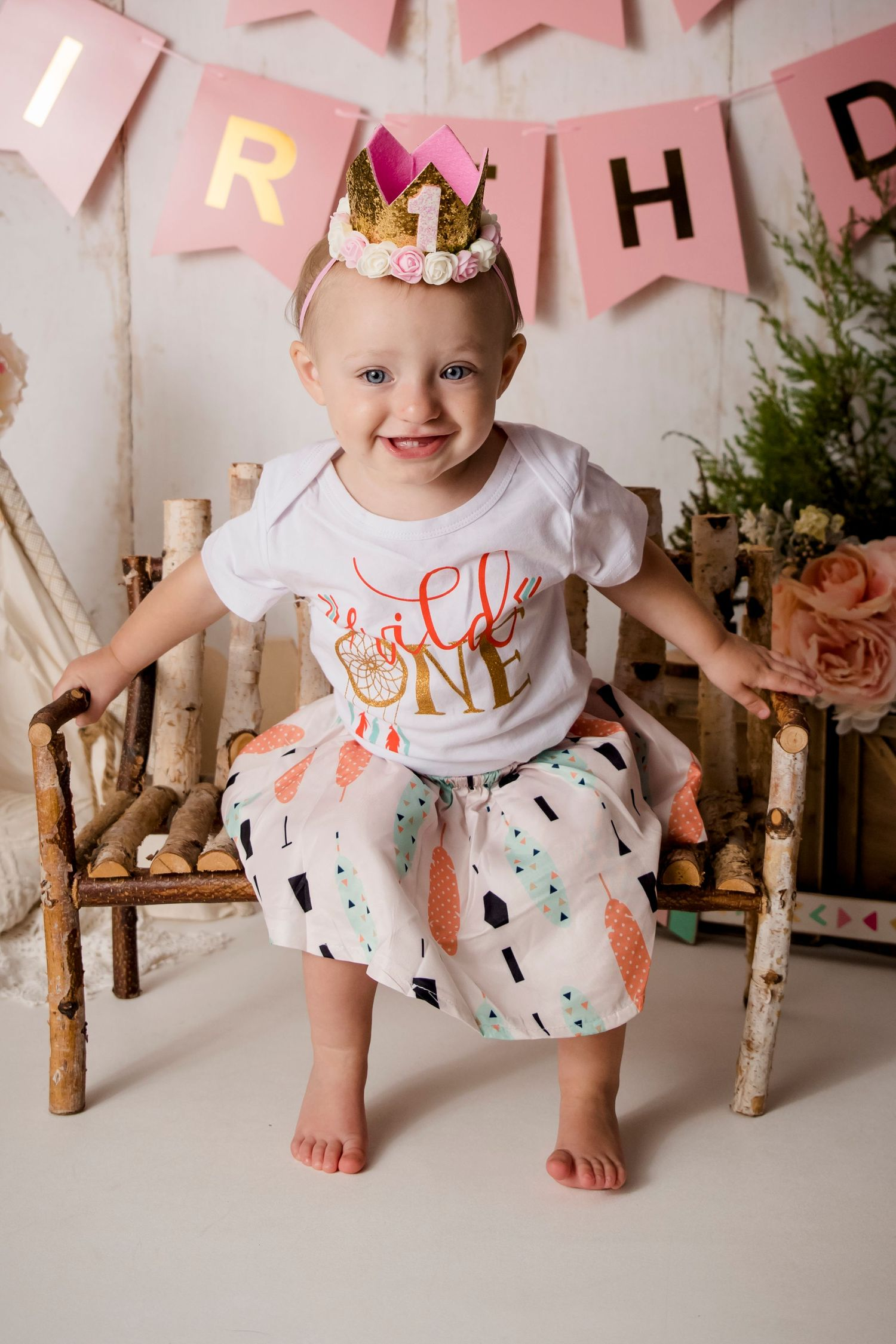 one year old girl wild one theme