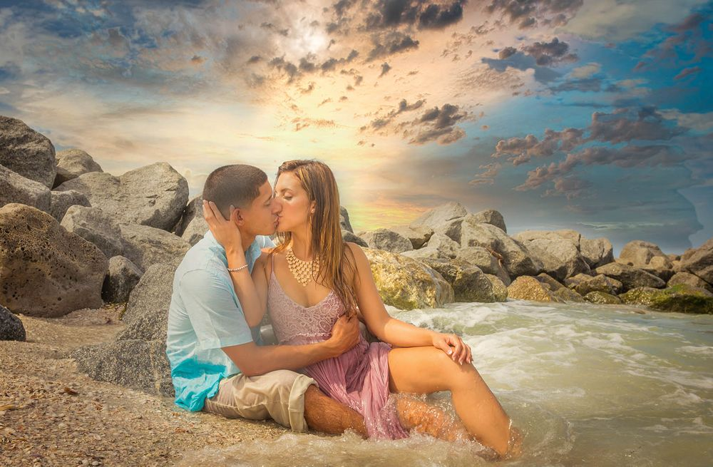 Sunset Beach Engagement Session Photography