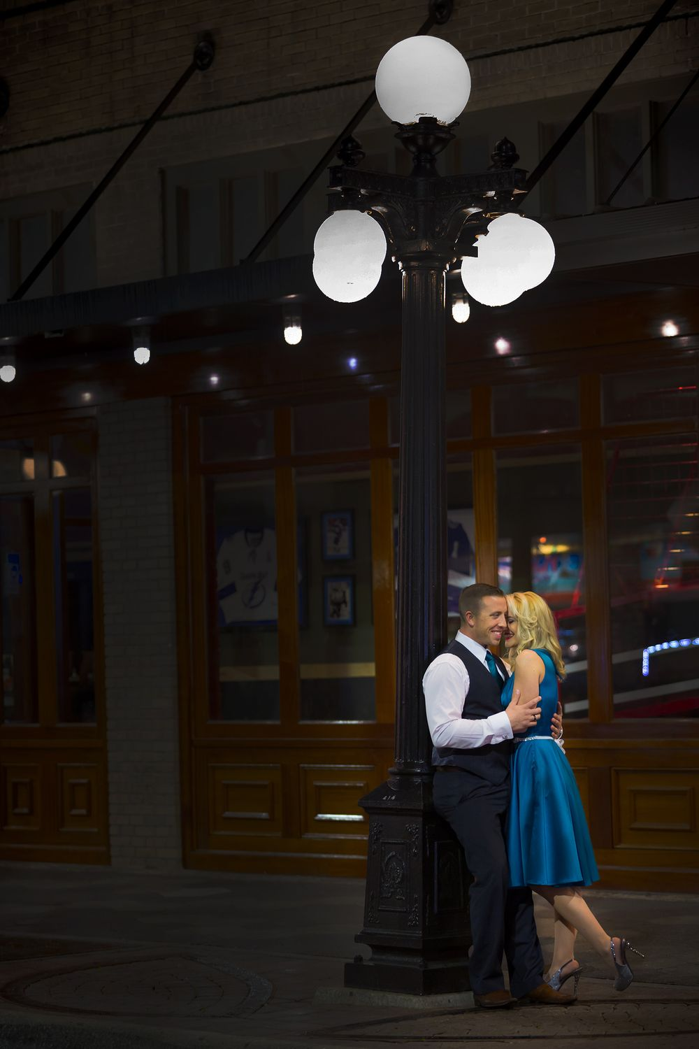Dramatic Ybor Nighttime Engagement Session